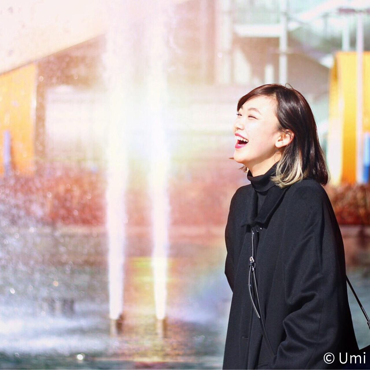 セルフヘアアレンジ ボブ インナーカラー ストリート ヘアスタイルや髪型の写真・画像 | Umi /