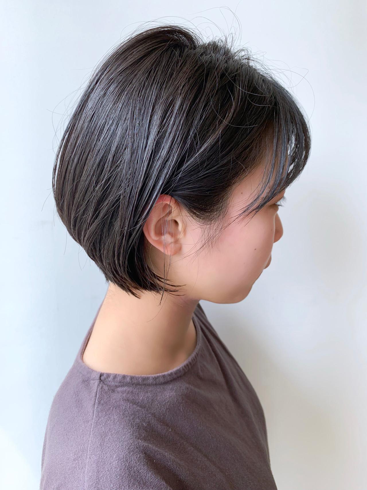 ショートボブ ショート ナチュラル 黒髪 ヘアスタイルや髪型の写真・画像