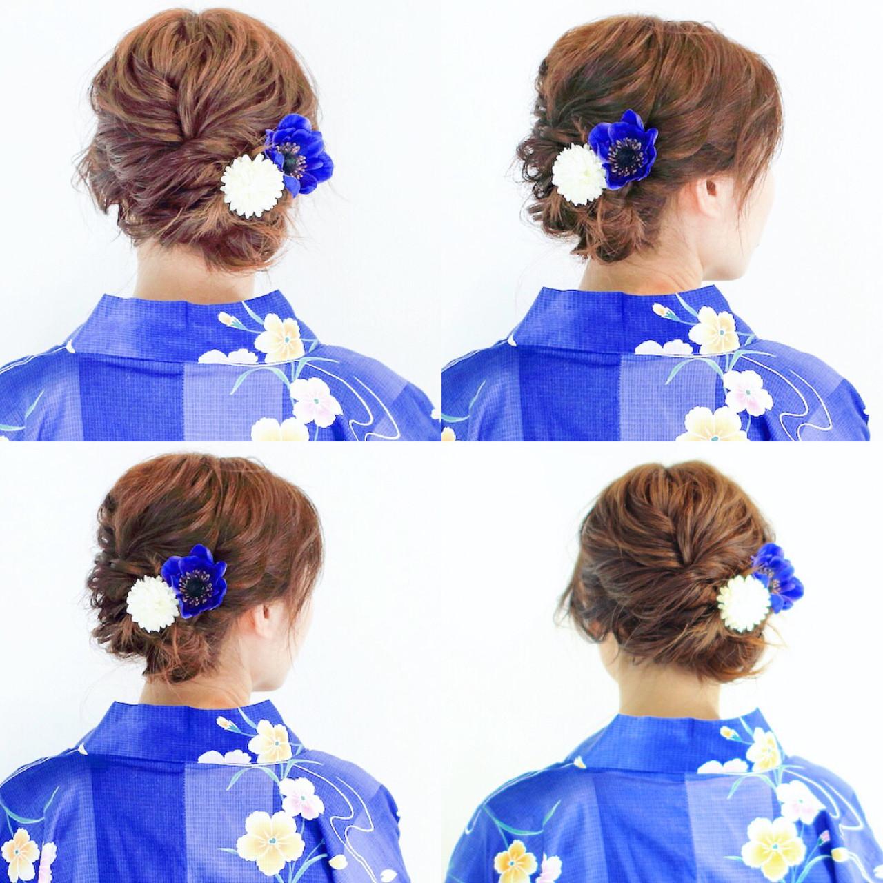 デート お祭り 夏 簡単ヘアアレンジ ヘアスタイルや髪型の写真・画像