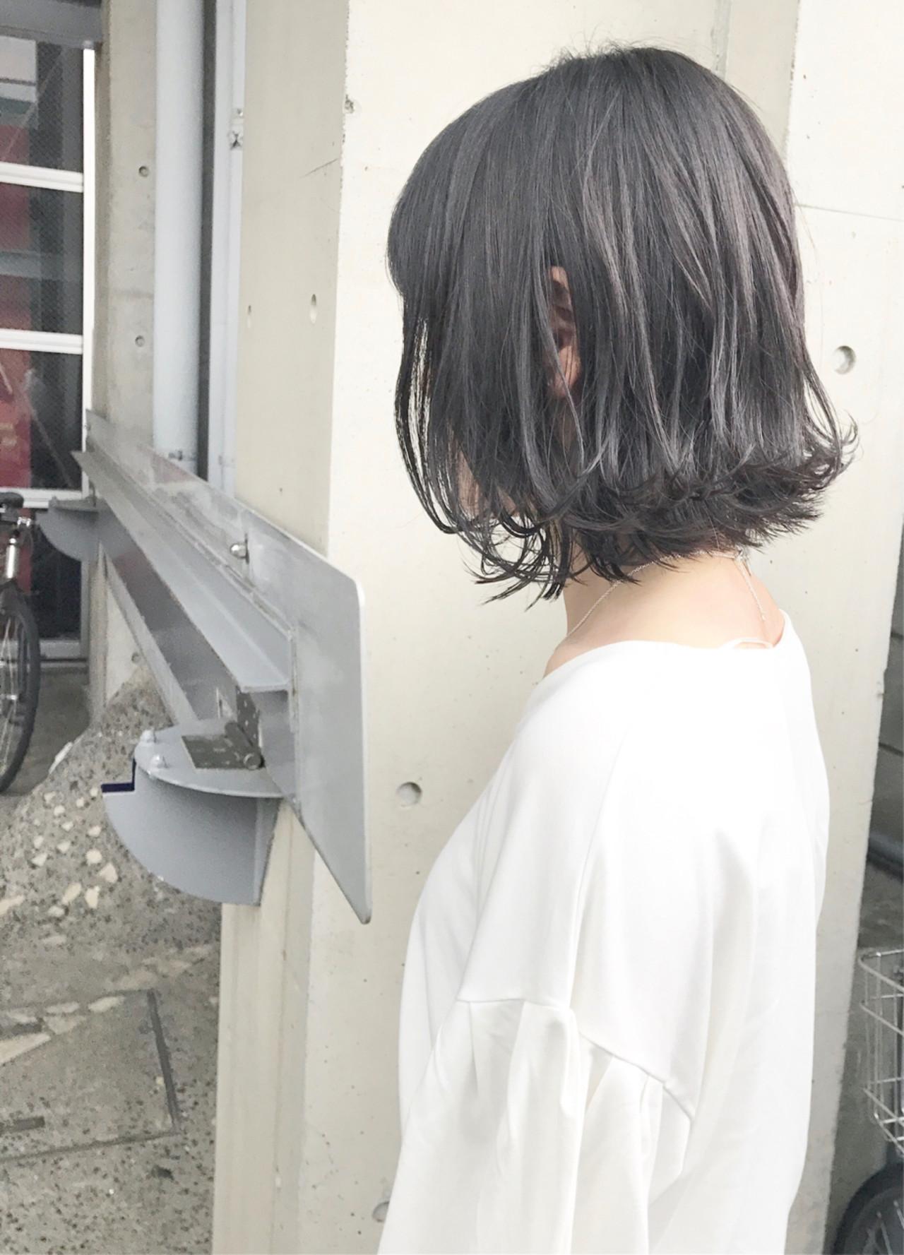 ミディアム ロブ 外ハネ ヘアアレンジ ヘアスタイルや髪型の写真・画像
