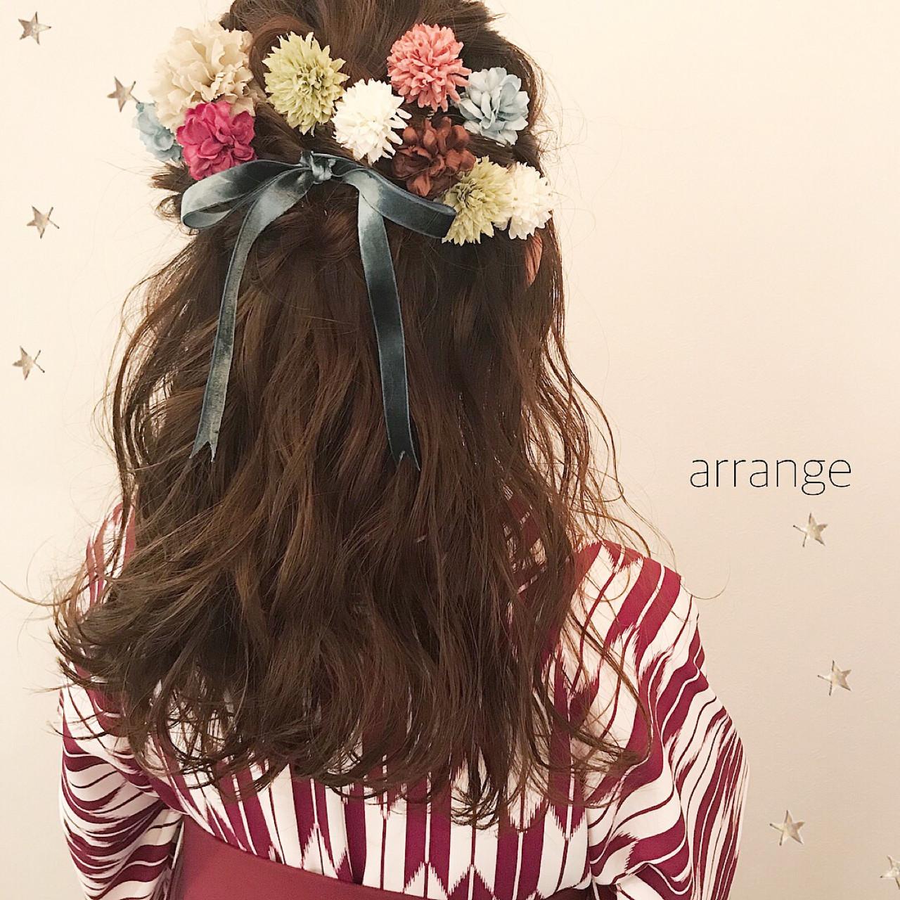 ヘアアレンジ ハーフアップ 謝恩会 ナチュラル ヘアスタイルや髪型の写真・画像