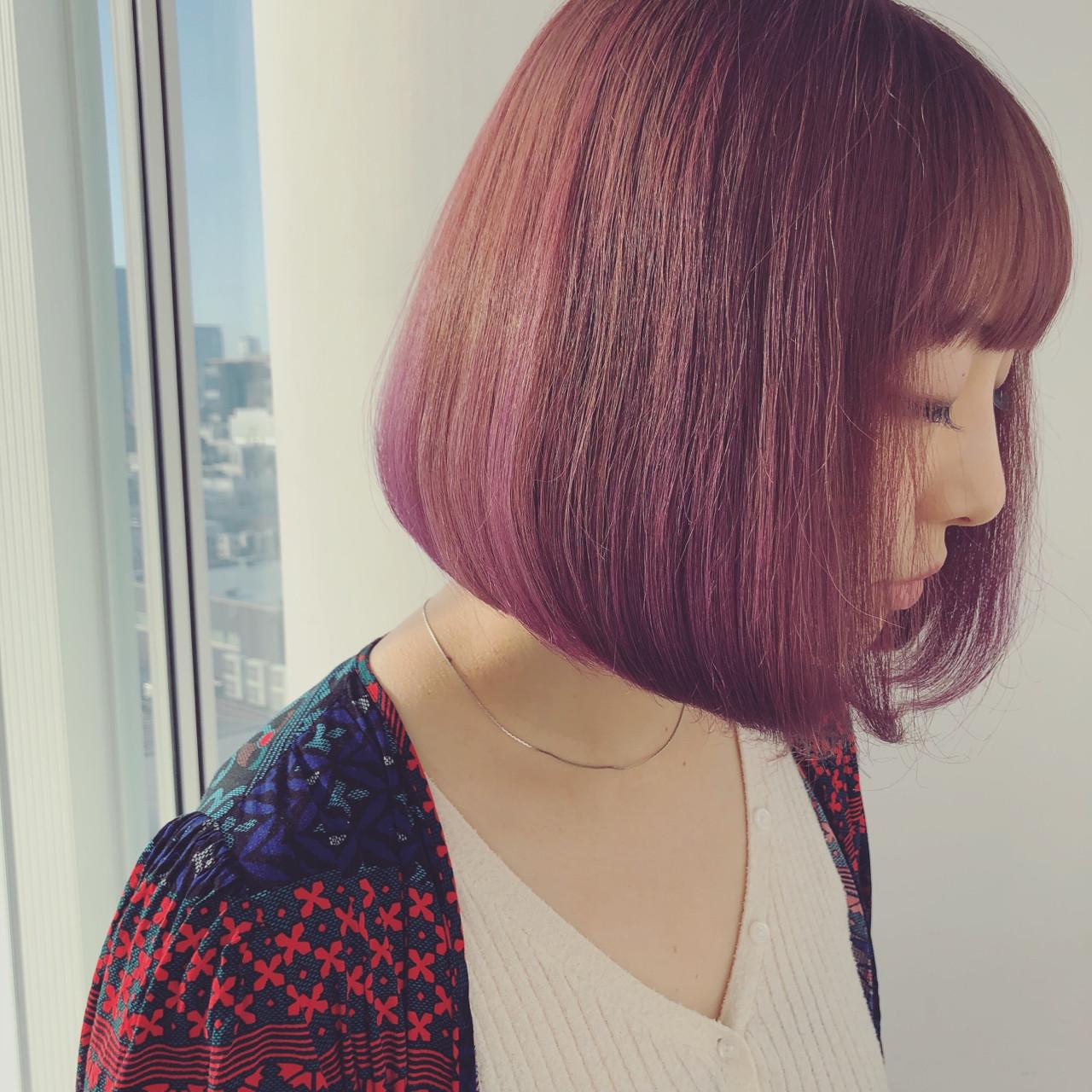ピンク ボブ オルチャン パープル ヘアスタイルや髪型の写真・画像 | 古田 千明 // ZACC / ZACC vie