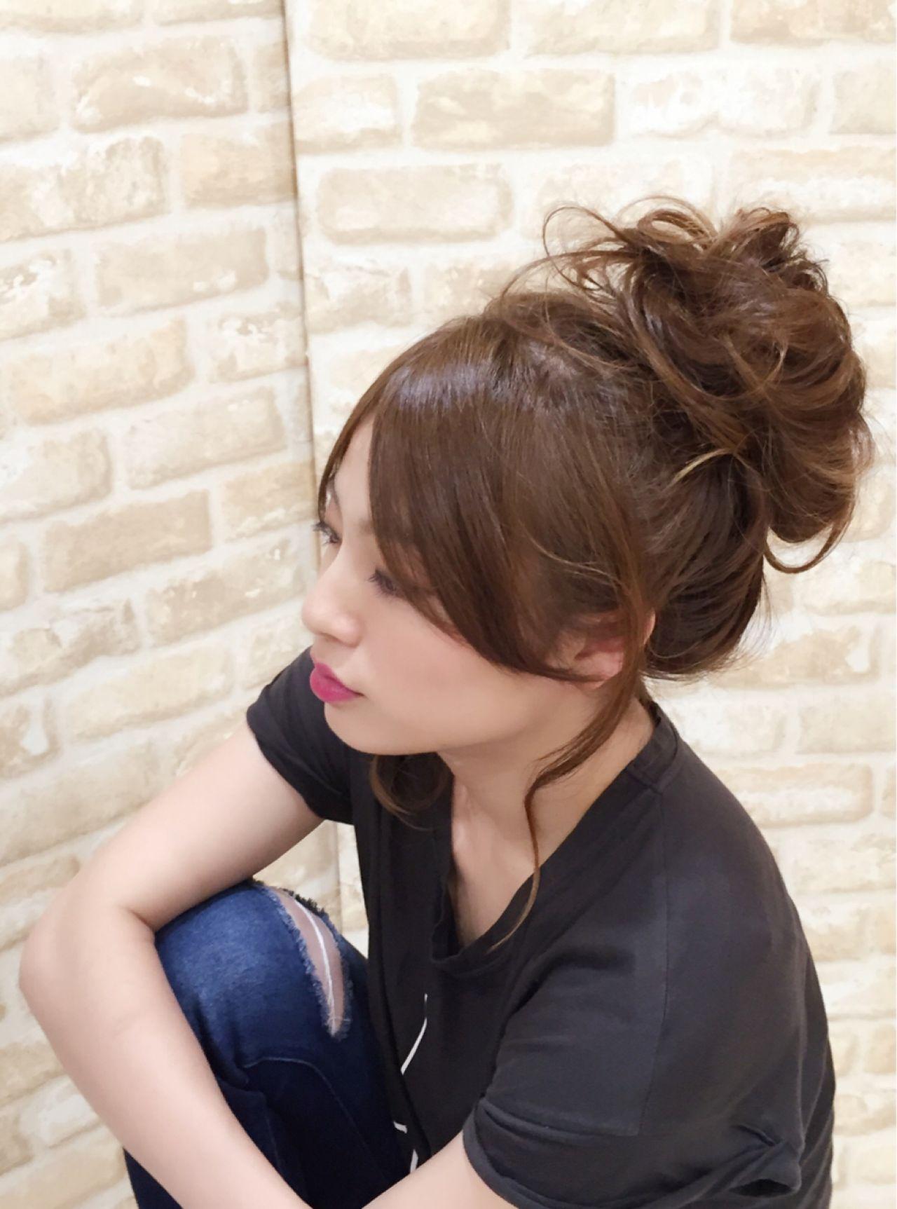 簡単ヘアアレンジ ポニーテール ロング センターパート ヘアスタイルや髪型の写真・画像 | 中村 猛 / MODE K's 塚本店 (モードケイズ)