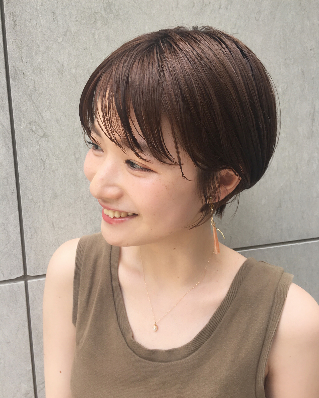 ショートボブ ナチュラル ひし形シルエット 小顔ショート ヘアスタイルや髪型の写真・画像 | NAOMI / Ramie