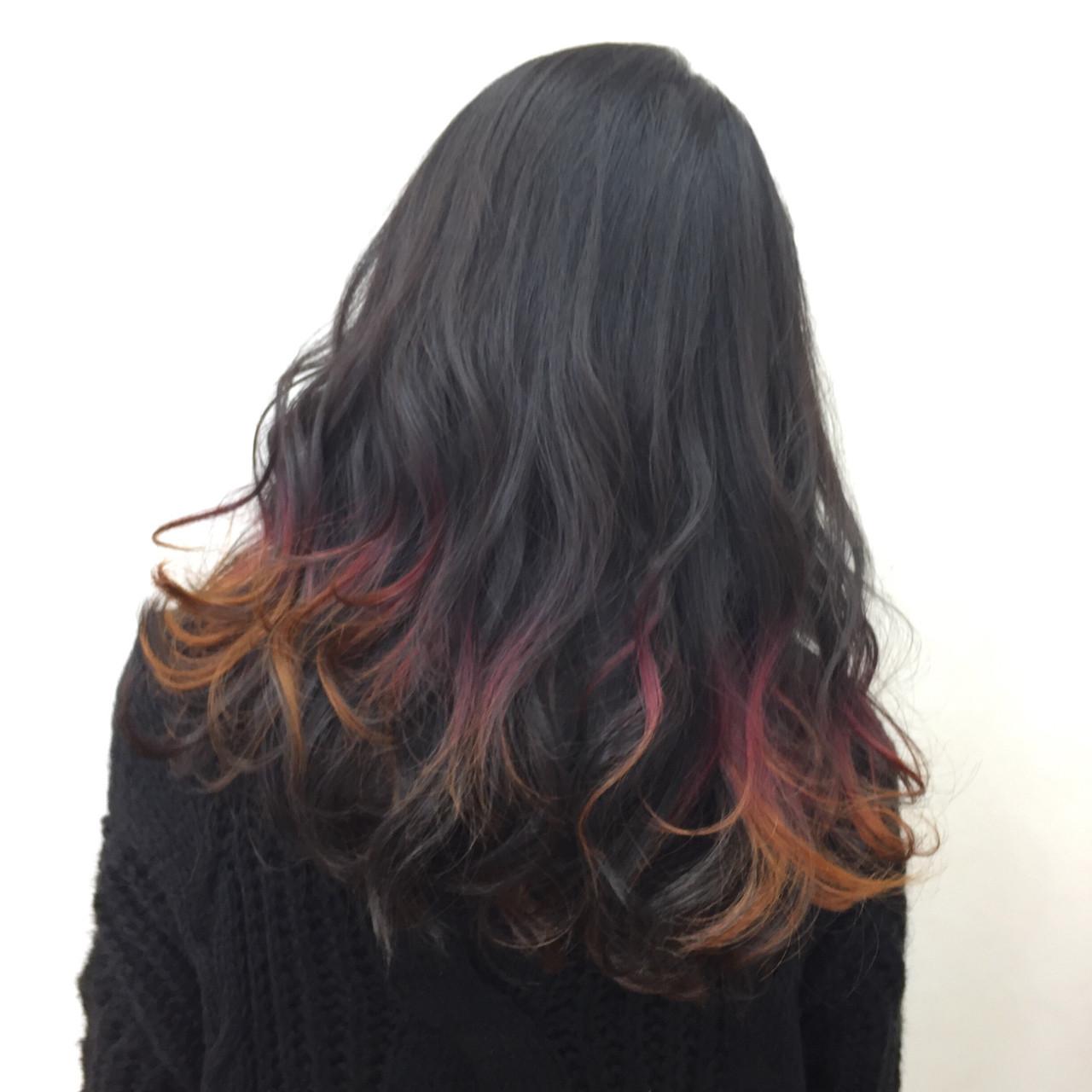 イエロー モード ロング オレンジ ヘアスタイルや髪型の写真・画像