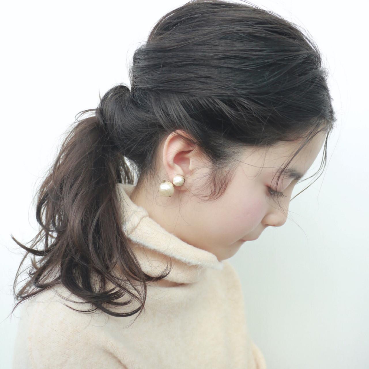 ポニーテール ヘアアレンジ 大人かわいい セミロング ヘアスタイルや髪型の写真・画像