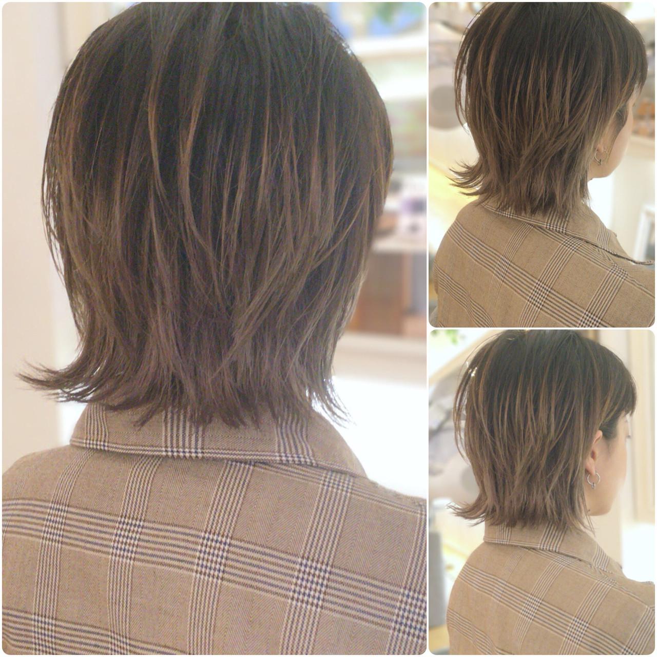 外ハネ ミディアム ボブ ロブ ヘアスタイルや髪型の写真・画像