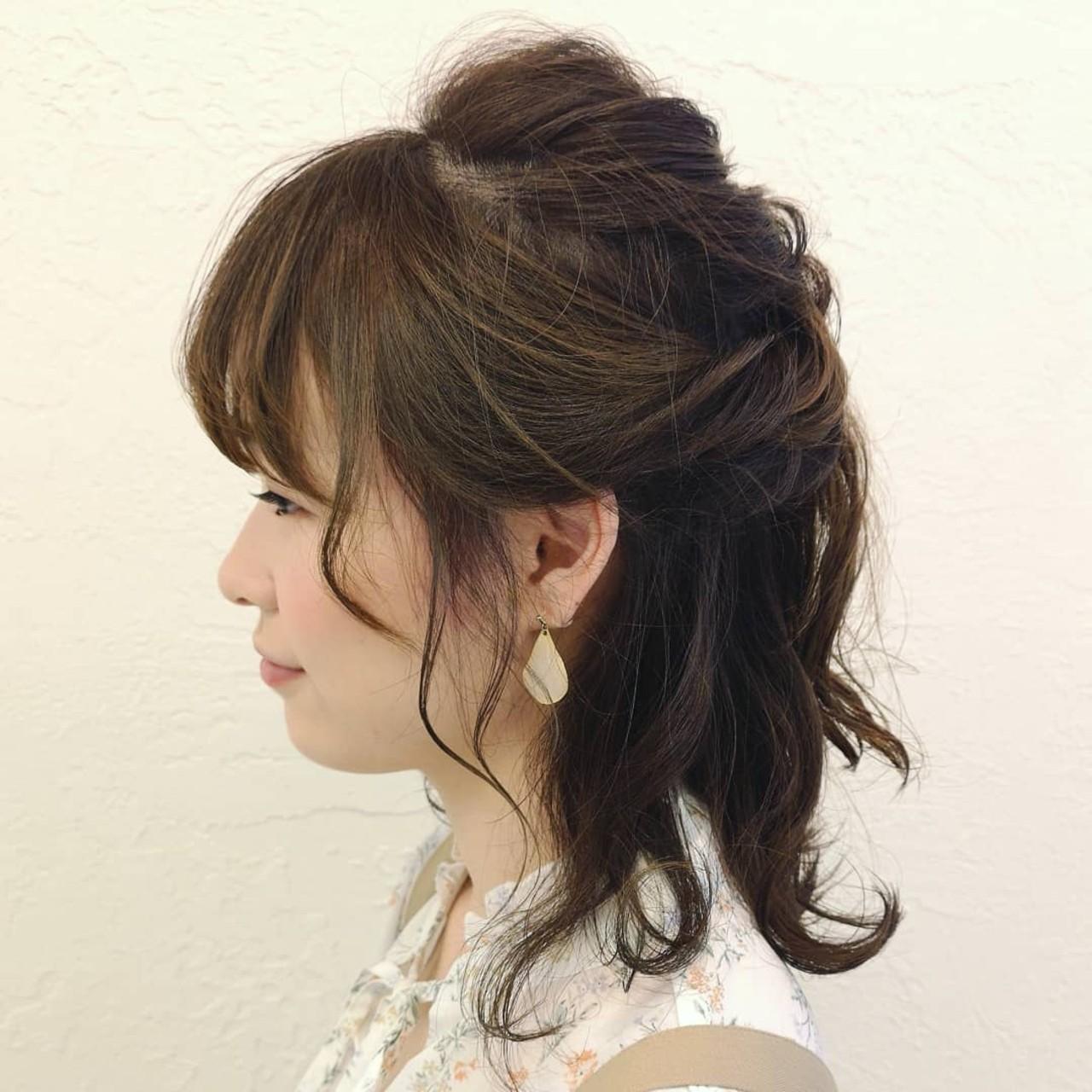 デート ボブ ヘアアレンジ ハーフアップ ヘアスタイルや髪型の写真・画像