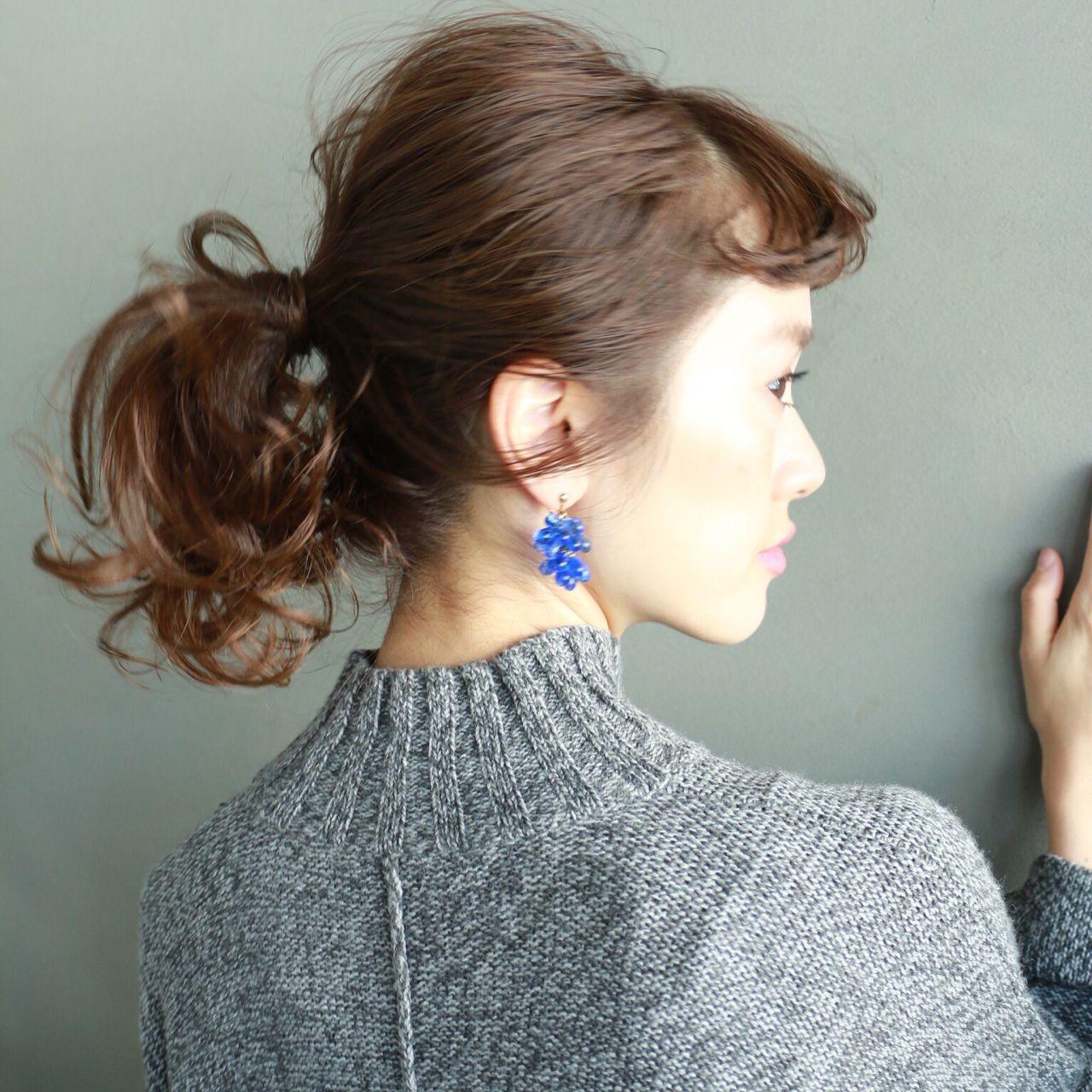 ミディアム 透明感 ポニーテール ヘアアレンジ ヘアスタイルや髪型の写真・画像