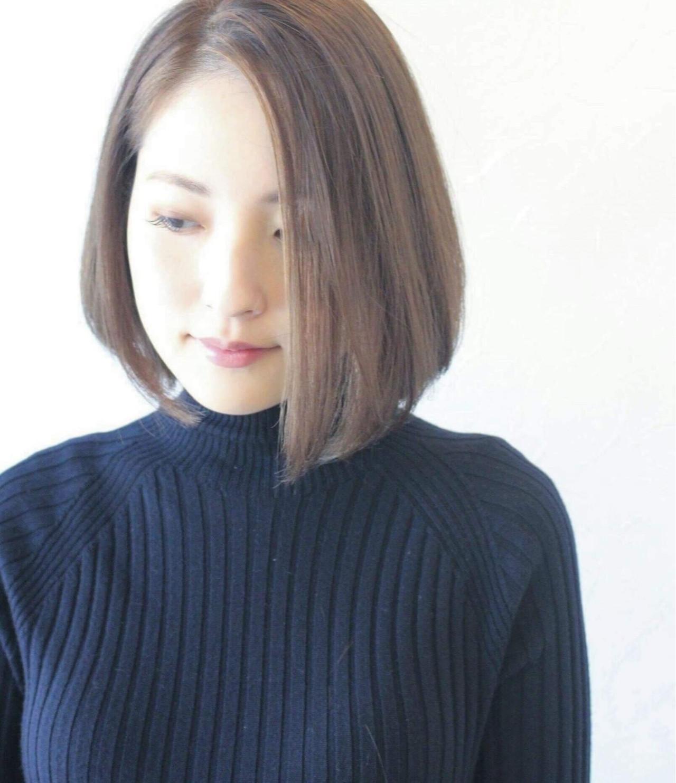 小顔 女子力 大人女子 ボブ ヘアスタイルや髪型の写真・画像 | 石島 リョウ / ヘア カラー 専門店 インク ブルー ヘア カラー