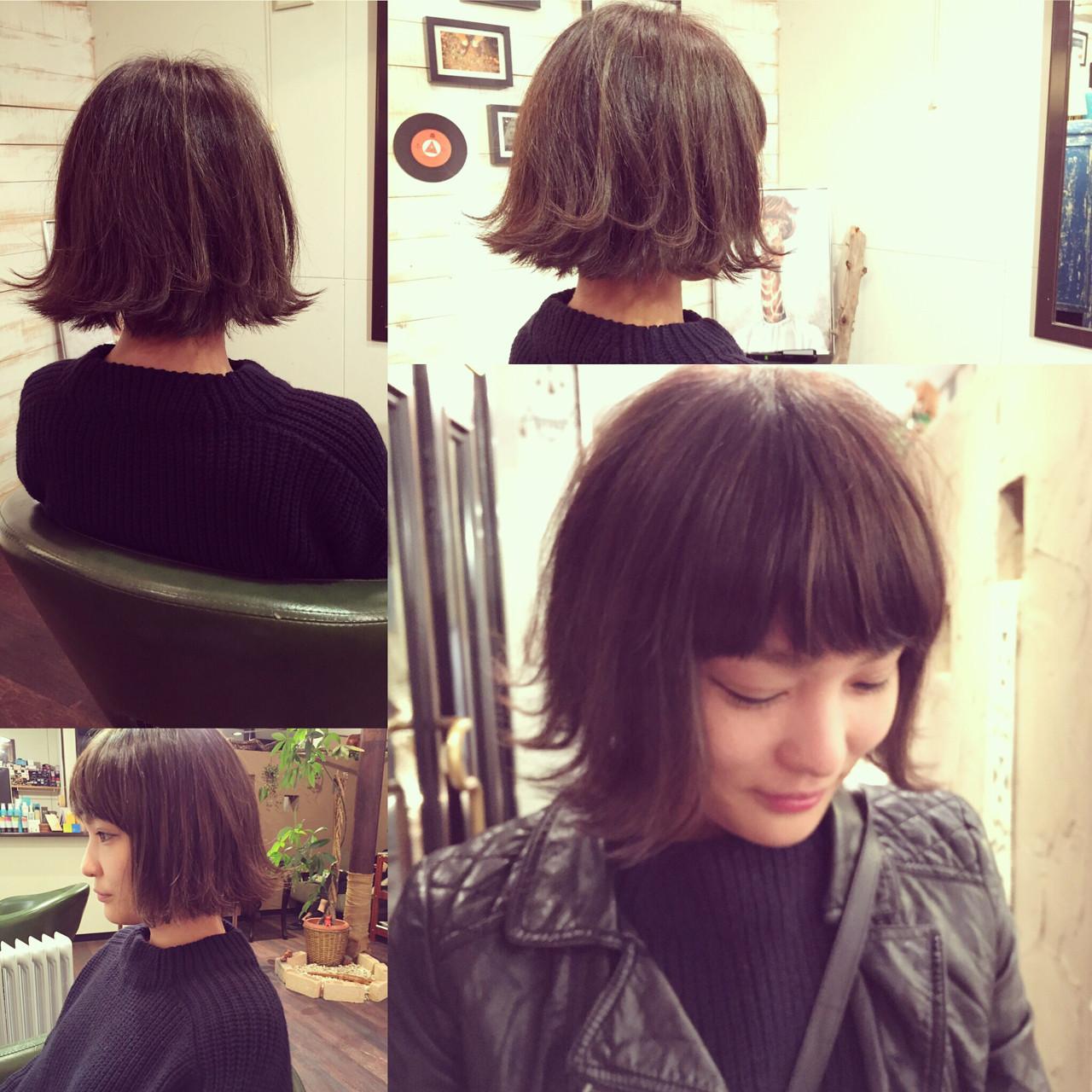 外ハネ グラデーションカラー アッシュ ストリート ヘアスタイルや髪型の写真・画像