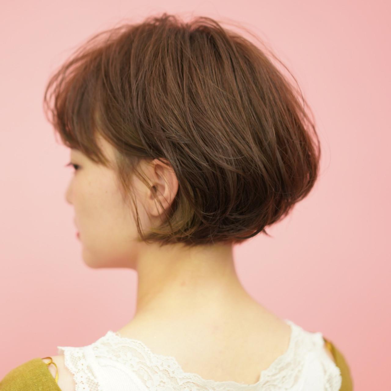 ショートボブ ナチュラル ショートヘア ミニボブ ヘアスタイルや髪型の写真・画像