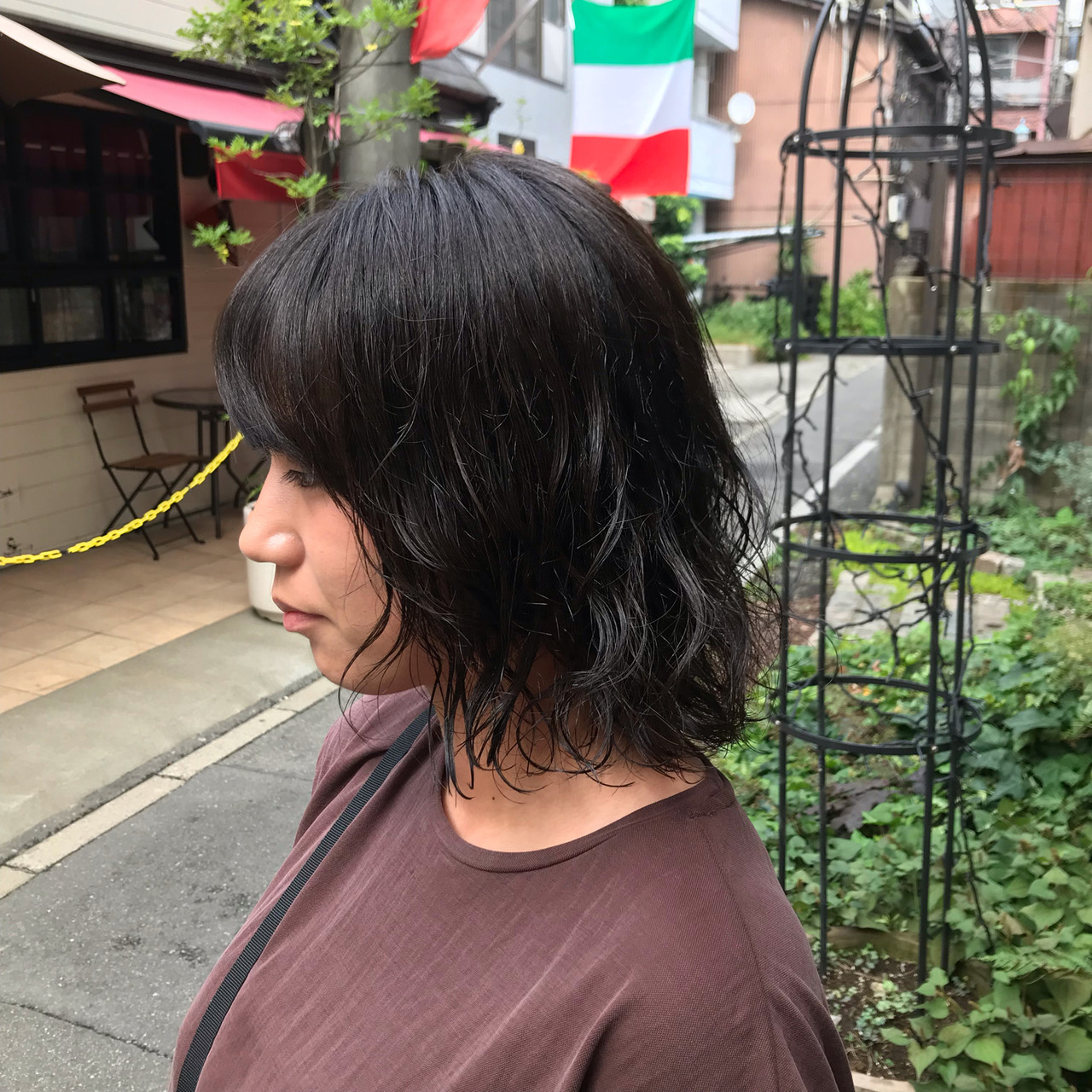 外ハネボブ 小顔ショート ボブ 切りっぱなしボブ ヘアスタイルや髪型の写真・画像