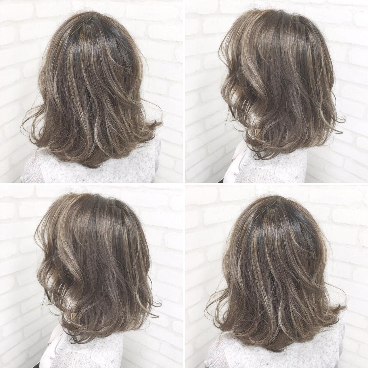 アッシュ メッシュ ボブ 暗髪 ヘアスタイルや髪型の写真・画像
