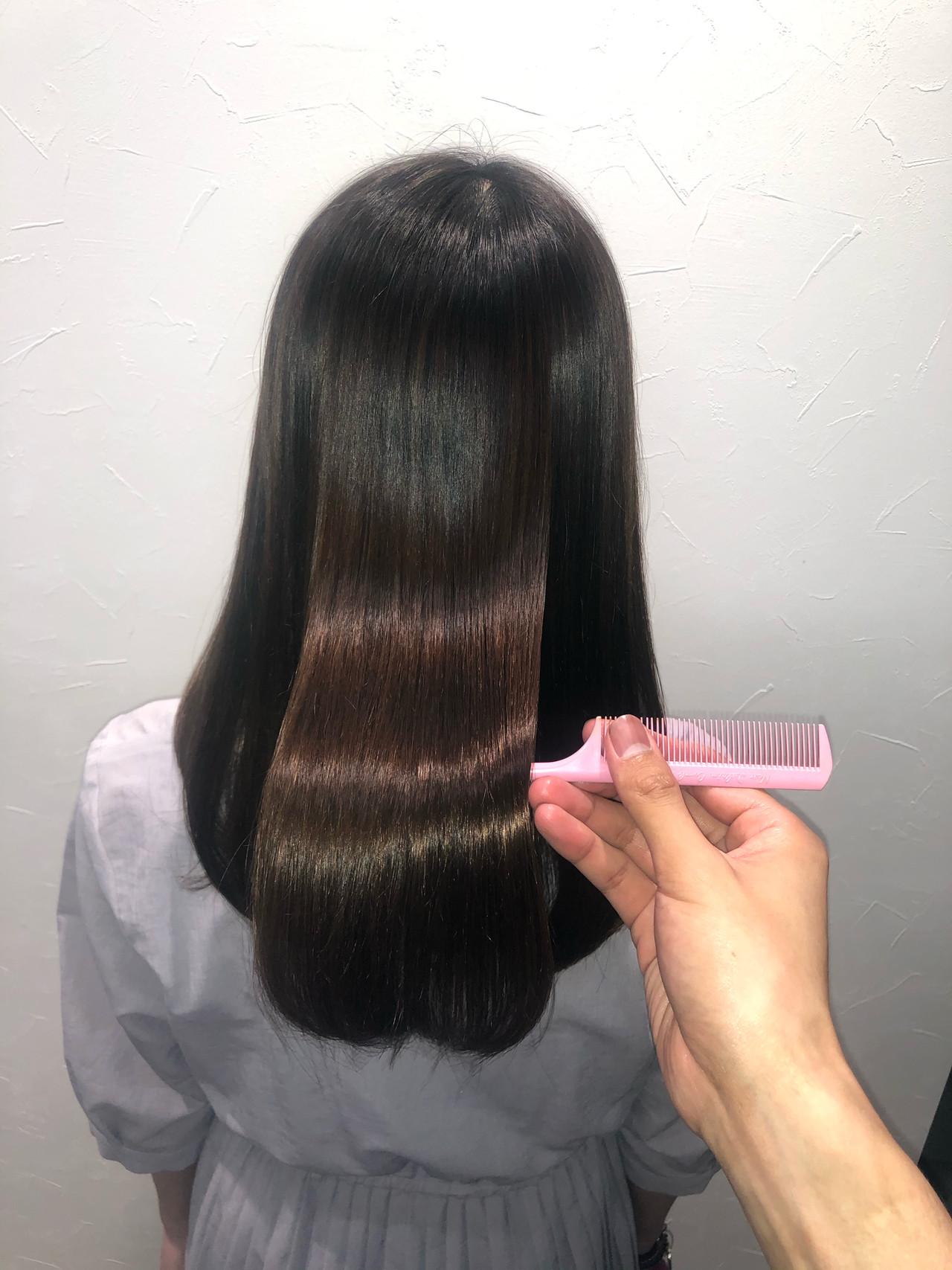 ストレート ナチュラル 髪質改善 ロング ヘアスタイルや髪型の写真・画像