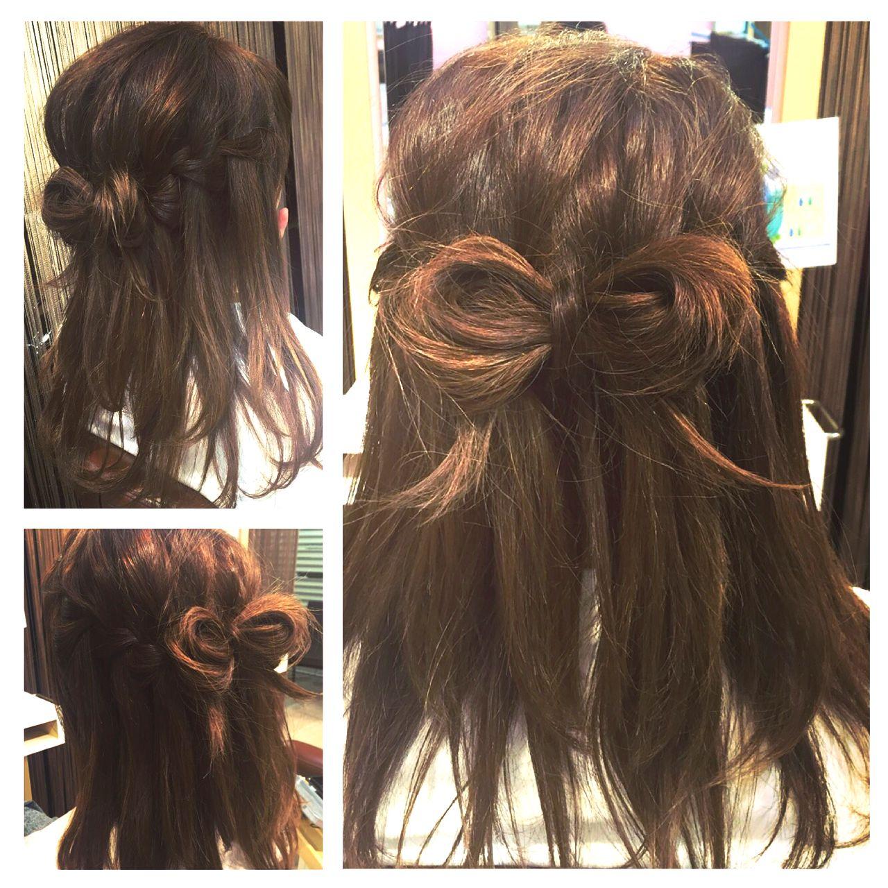 ハーフアップ 編み込み セミロング ヘアアレンジ ヘアスタイルや髪型の写真・画像