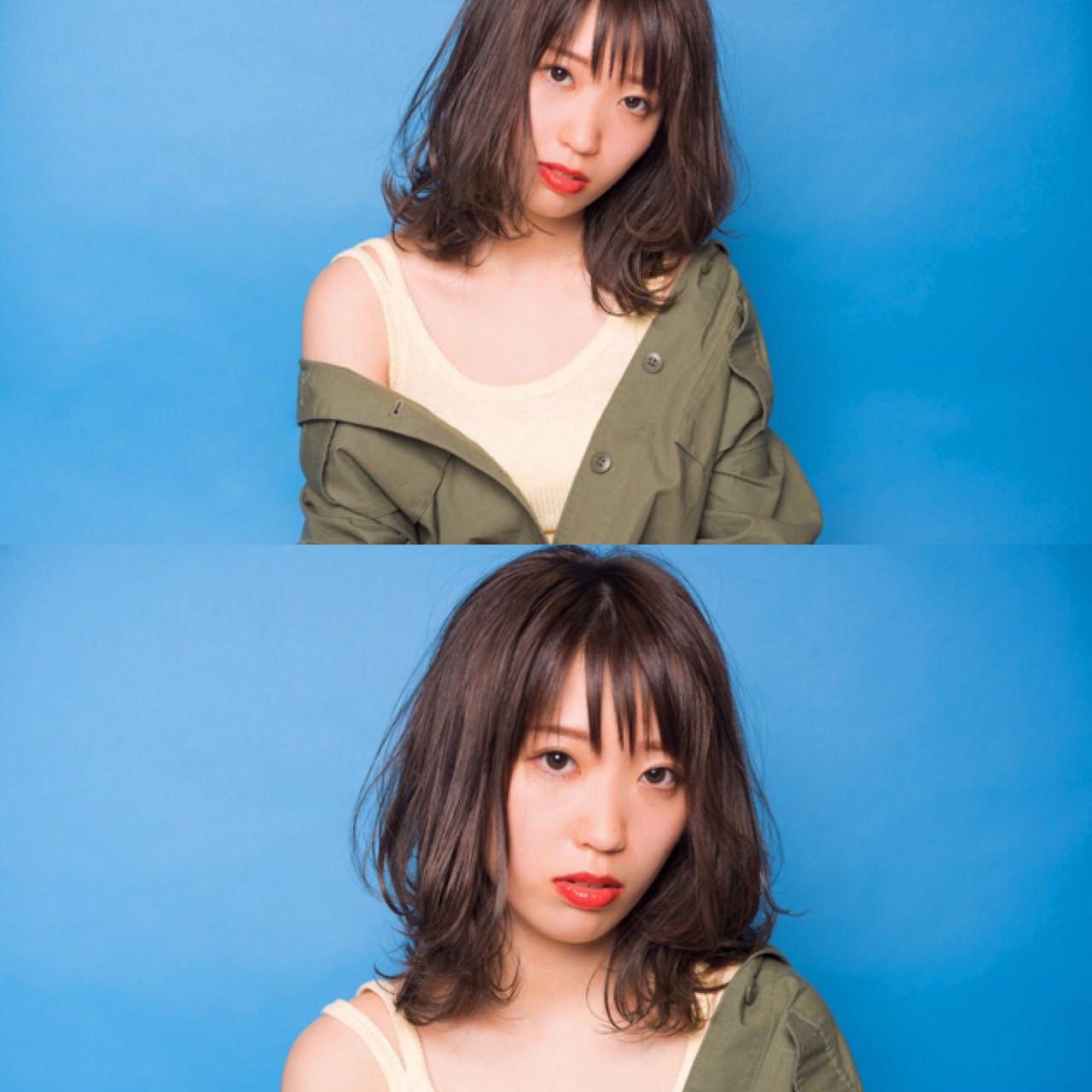 ミディアム シースルーバング イルミナカラー レイヤーカット ヘアスタイルや髪型の写真・画像 | 宮本英里香 /