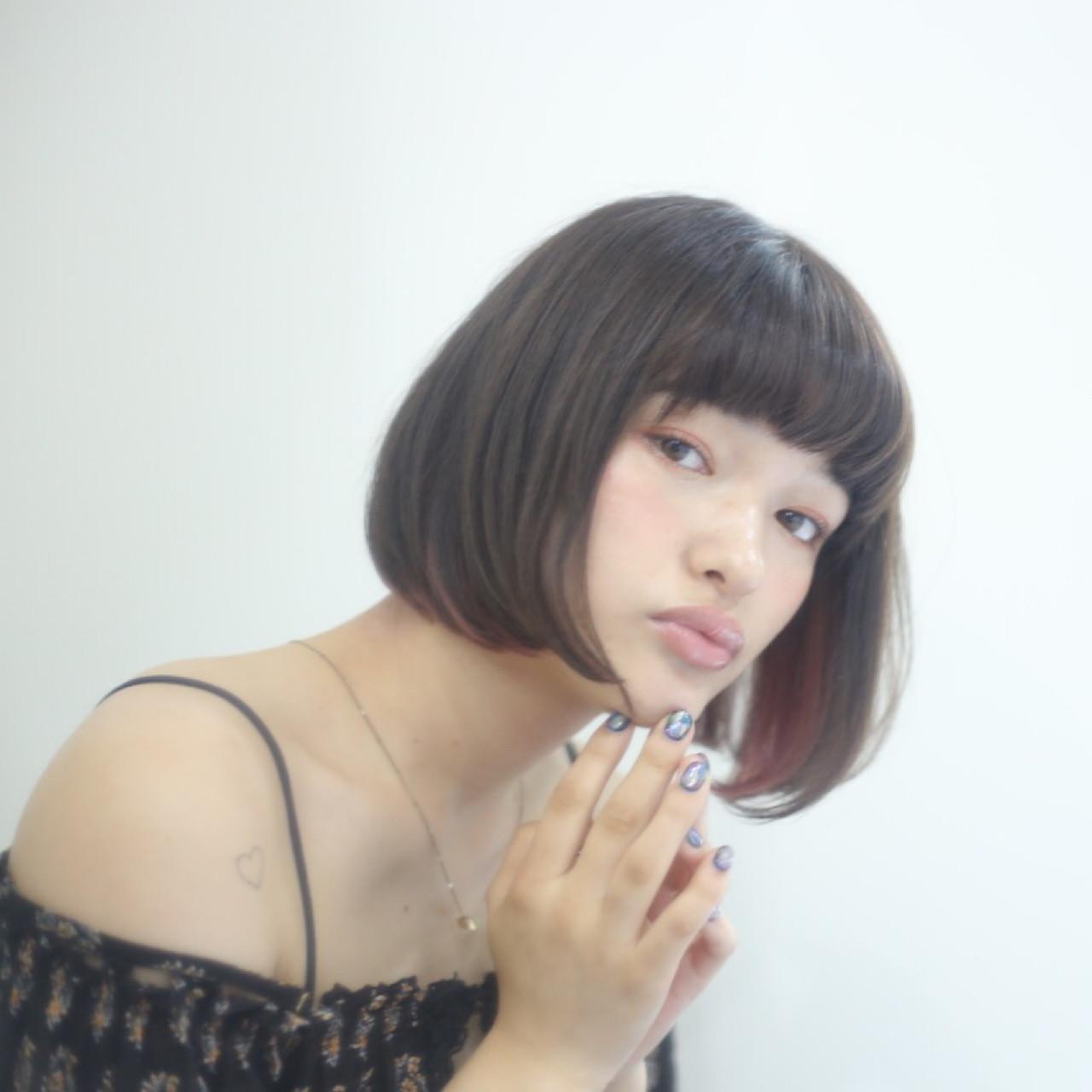 暗髪 ハイライト ボブ 黒髪 ヘアスタイルや髪型の写真・画像 | 本田寿雄 / kith.