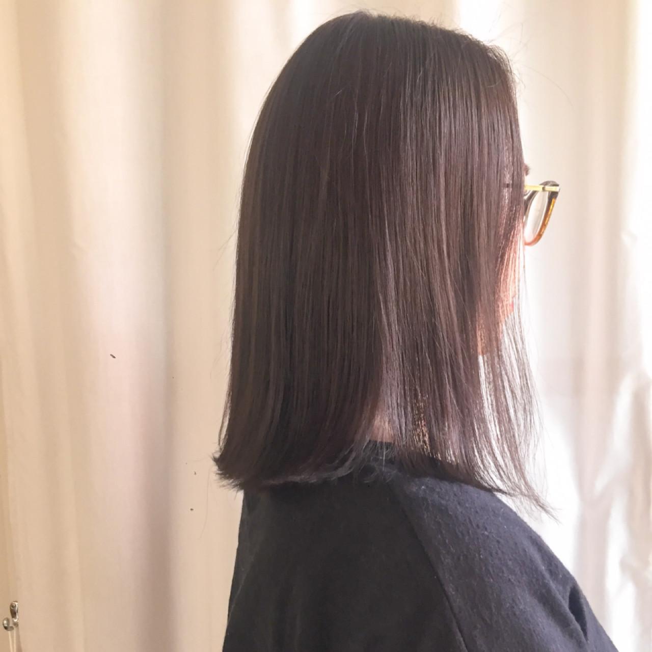 アッシュベージュ ロブ ナチュラル ミディアム ヘアスタイルや髪型の写真・画像