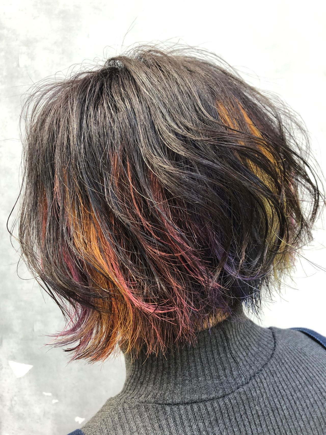 ハイライト モード インナーカラー ヘアアレンジ ヘアスタイルや髪型の写真・画像