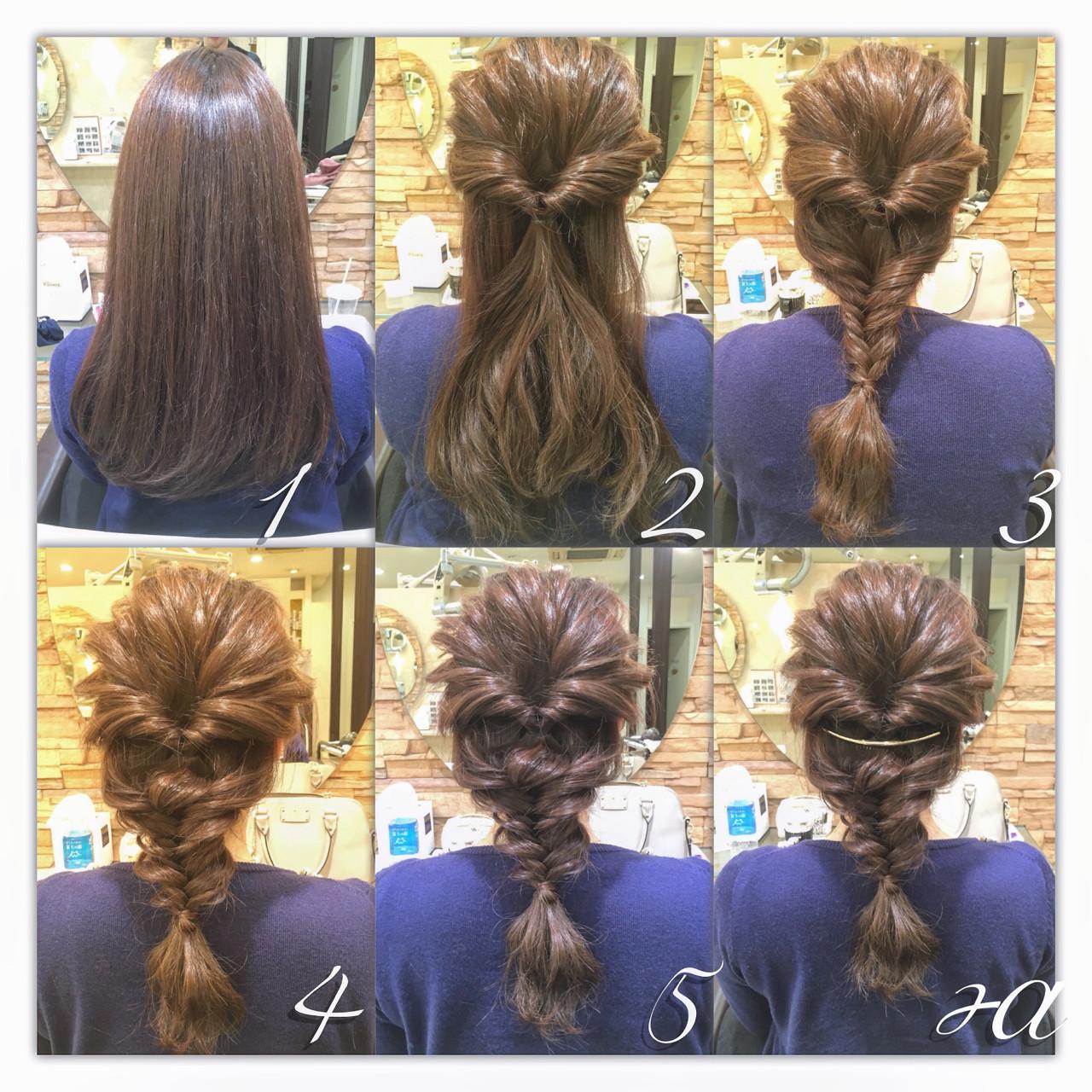 【hair arrange process】 《ストレート✖︎くるりんぱ✖︎フィッシュボーン》 自分でできる簡単オシャレヘアアレンジ解説  ①ストレートベースで上下2つに分けます ②上側をくるりんぱにします ③下をフィッシュボーンにし、毛先を残して結びます。 ④全体をほぐします ⑤くるりんぱとフィッシュボーンの間もほぐすことで立体感がでます +αでクレセントコームをつけオシャレ度アップ