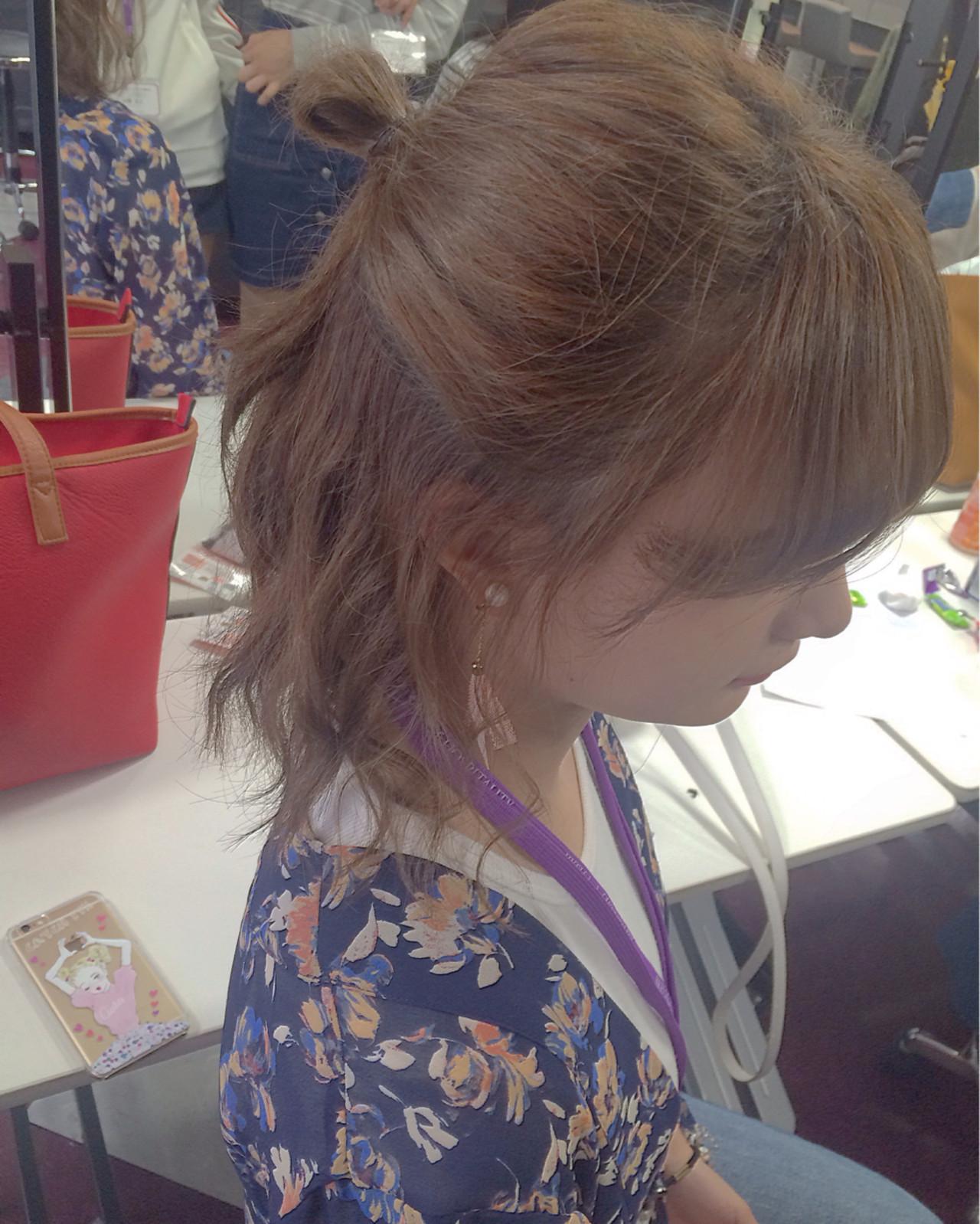 ショート ハーフアップ ゆるふわ ボブ ヘアスタイルや髪型の写真・画像