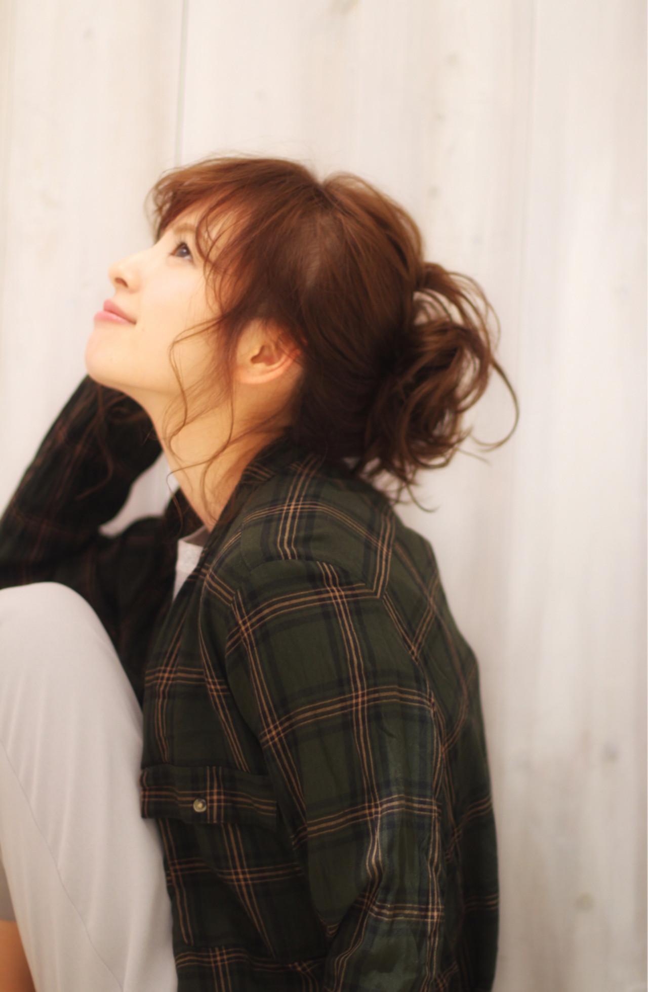 お団子 ガーリー ヘアアレンジ ミディアム ヘアスタイルや髪型の写真・画像