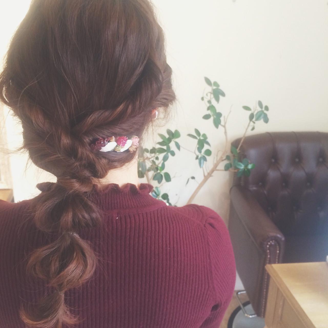 ガーリー ヘアアレンジ ショート ヘアアクセ ヘアスタイルや髪型の写真・画像 | ayami / PELO
