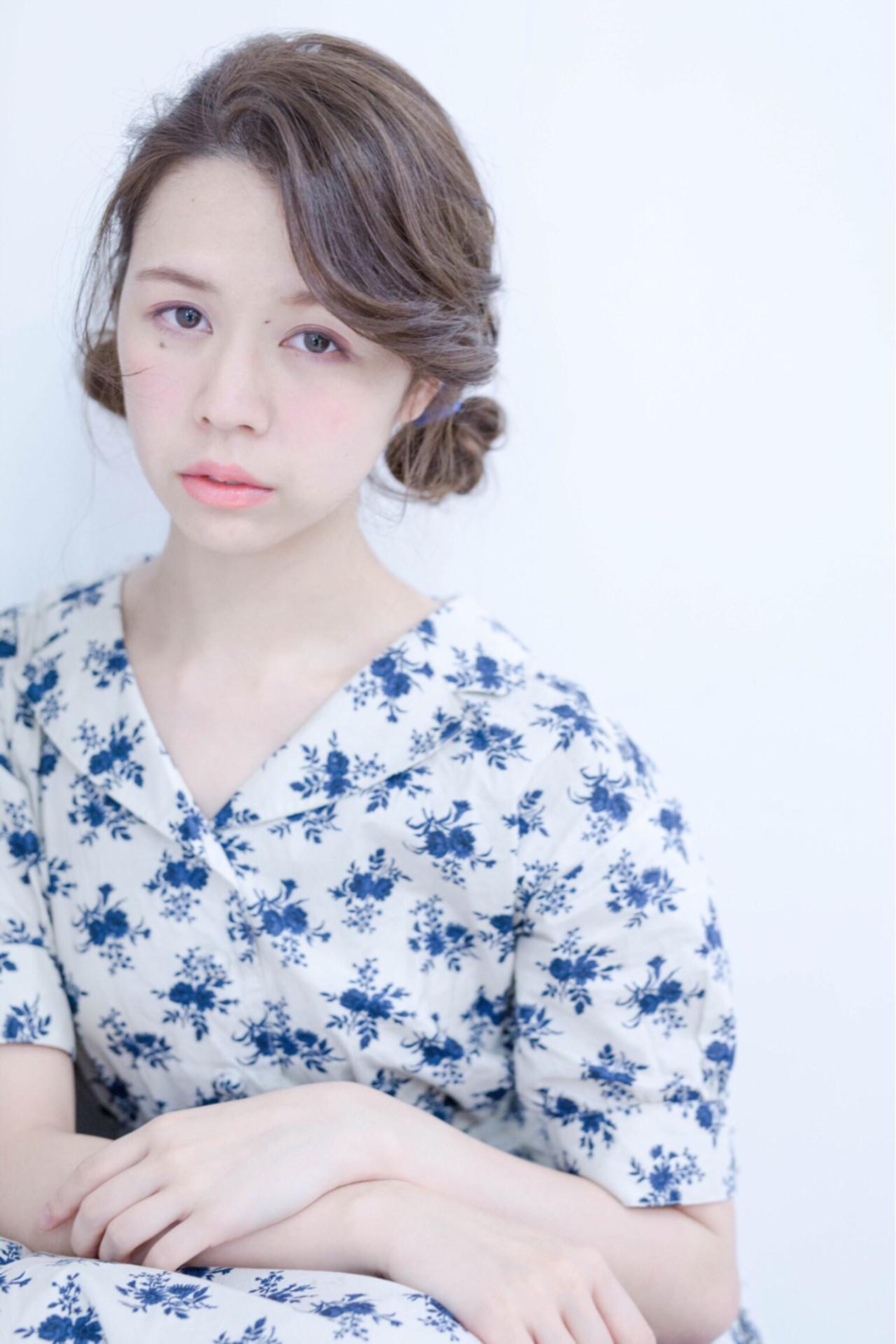 外国人風 ヘアアレンジ セミロング フェミニン ヘアスタイルや髪型の写真・画像