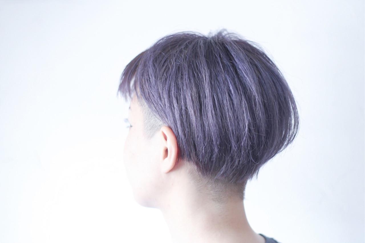 マッシュショート パープルアッシュ ボブ ショートボブ ヘアスタイルや髪型の写真・画像