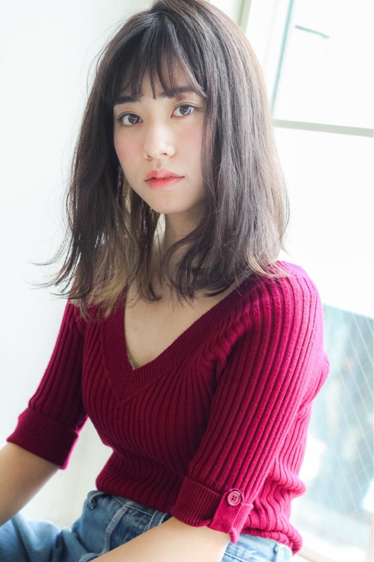 くせ毛風 暗髪 ミディアム パーマ ヘアスタイルや髪型の写真・画像 | lora.garden 細田真吾 / GARDEN harajyuku