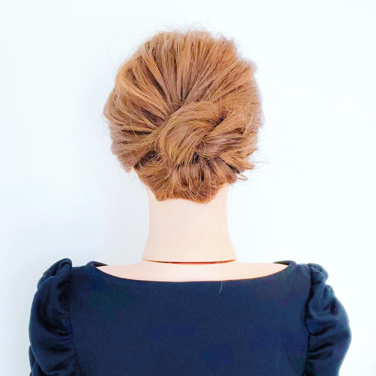 ロング くるりんぱ 簡単ヘアアレンジ ショート ヘアスタイルや髪型の写真・画像