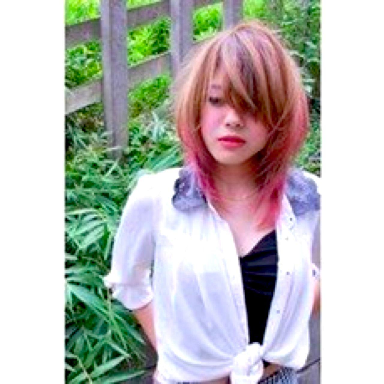 ロック グラデーションカラー ダブルカラー ストリート ヘアスタイルや髪型の写真・画像