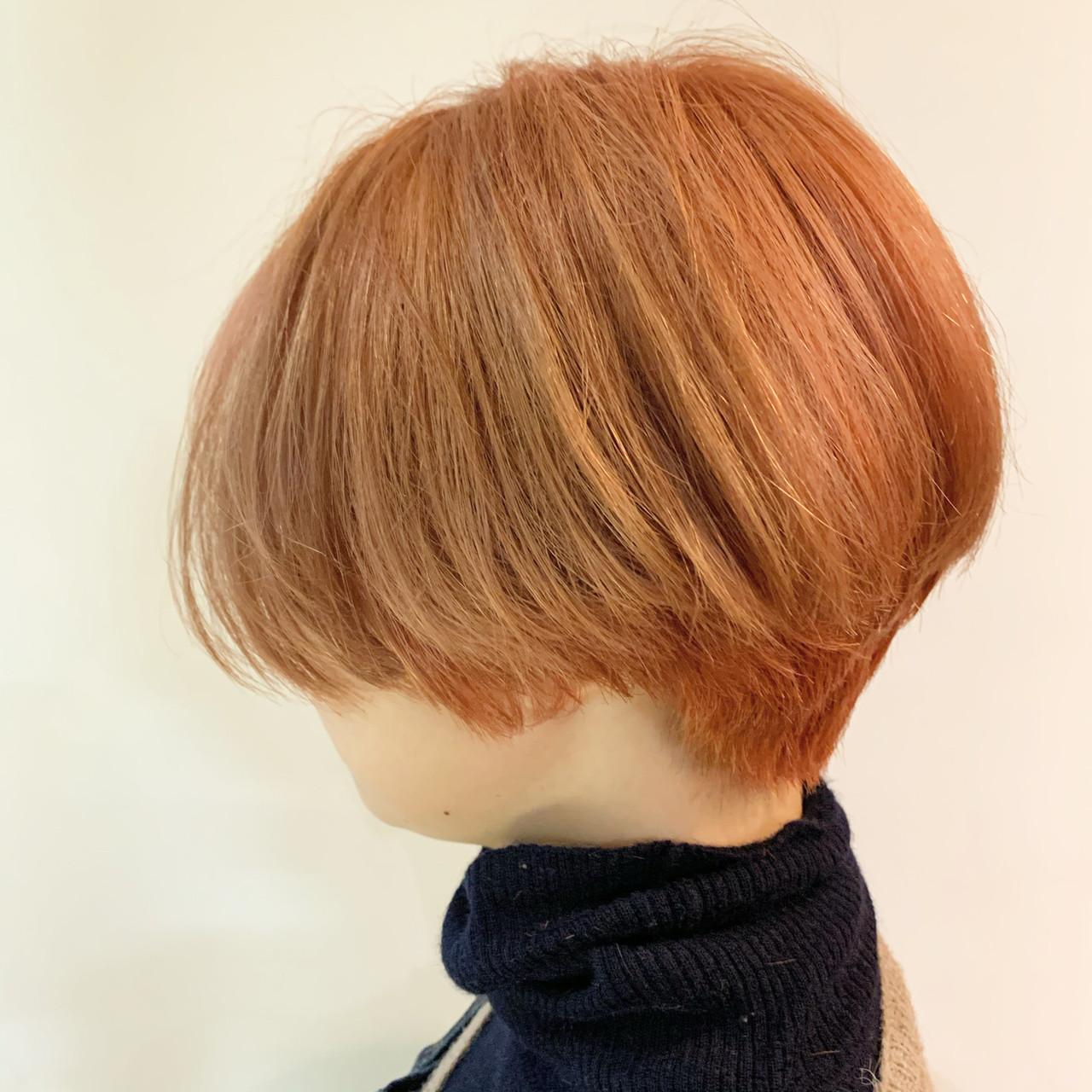 オレンジ ショートヘア ショート アプリコットオレンジ ヘアスタイルや髪型の写真・画像 | 谷川 健太 / ROVERSI