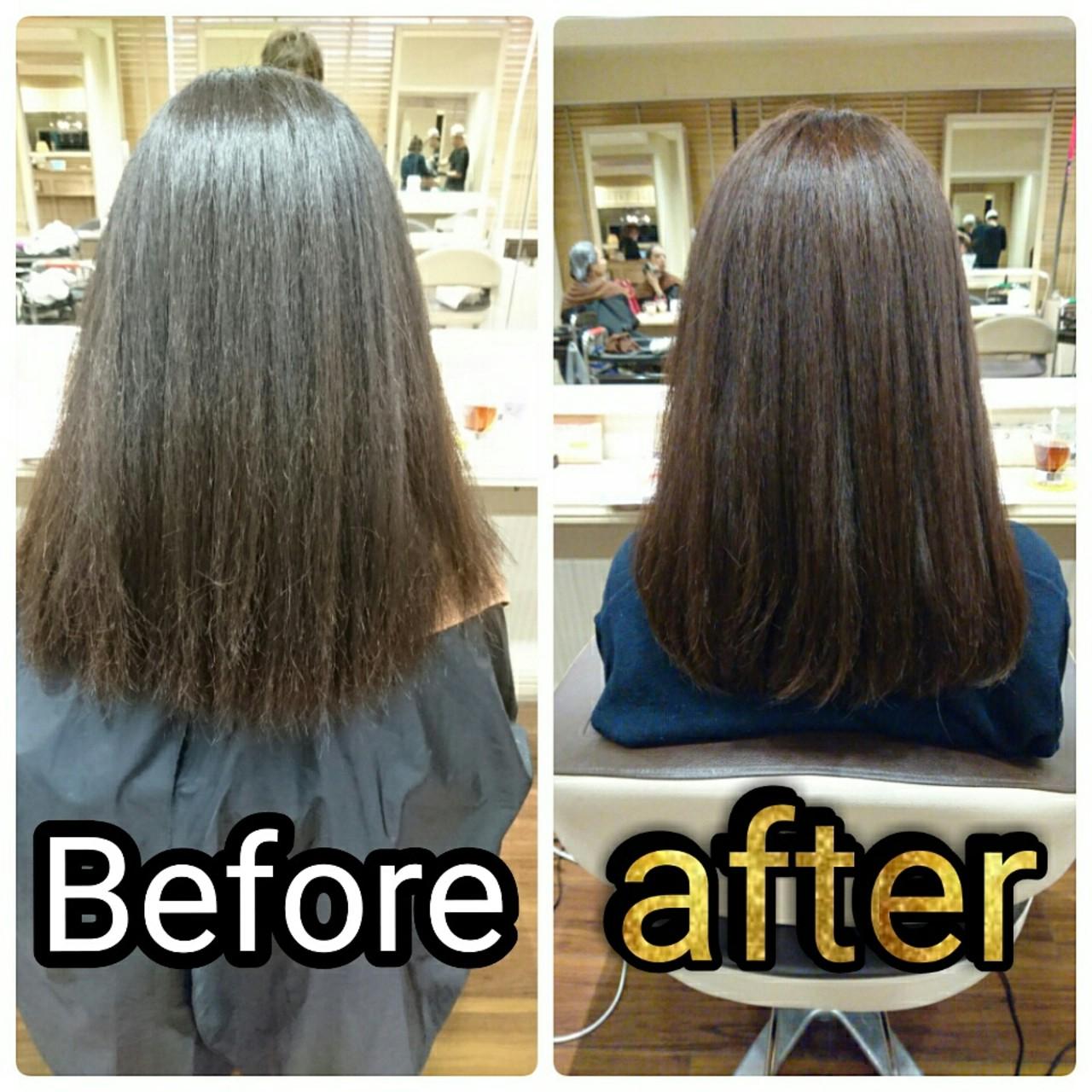 セミロング イルミナカラー 大人かわいい 縮毛矯正 ヘアスタイルや髪型の写真・画像