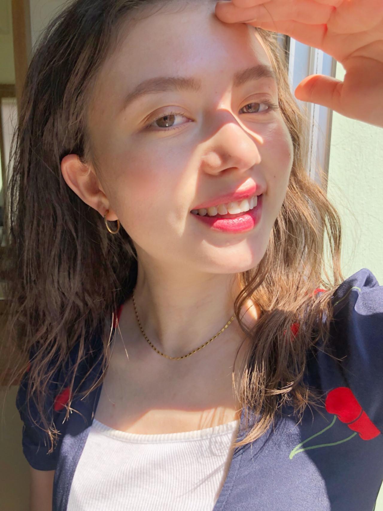 セミロング ヘアアレンジ ガーリー ゆるふわ ヘアスタイルや髪型の写真・画像