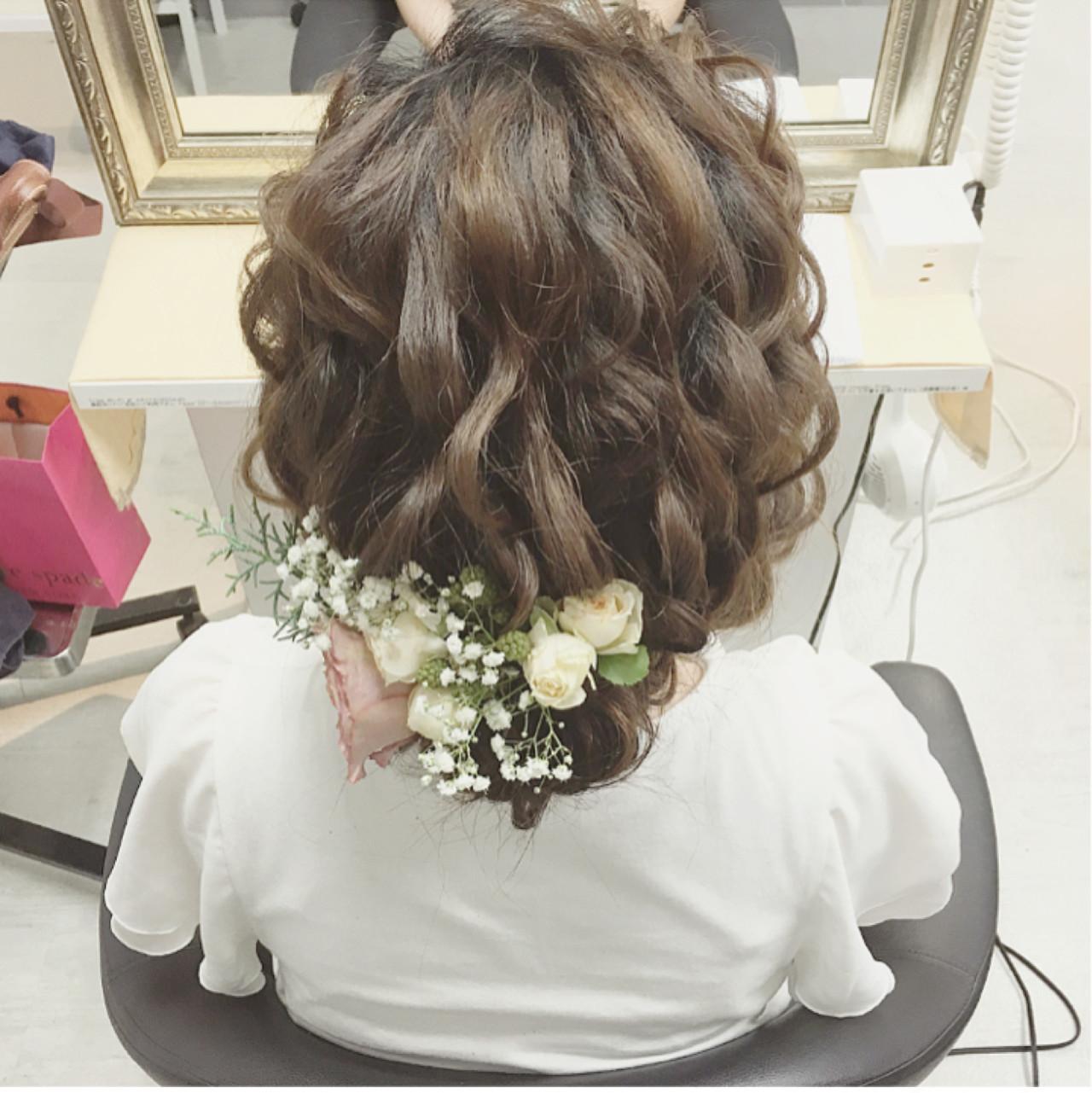 結婚式 ヘアアレンジ ミディアム ナチュラル ヘアスタイルや髪型の写真・画像