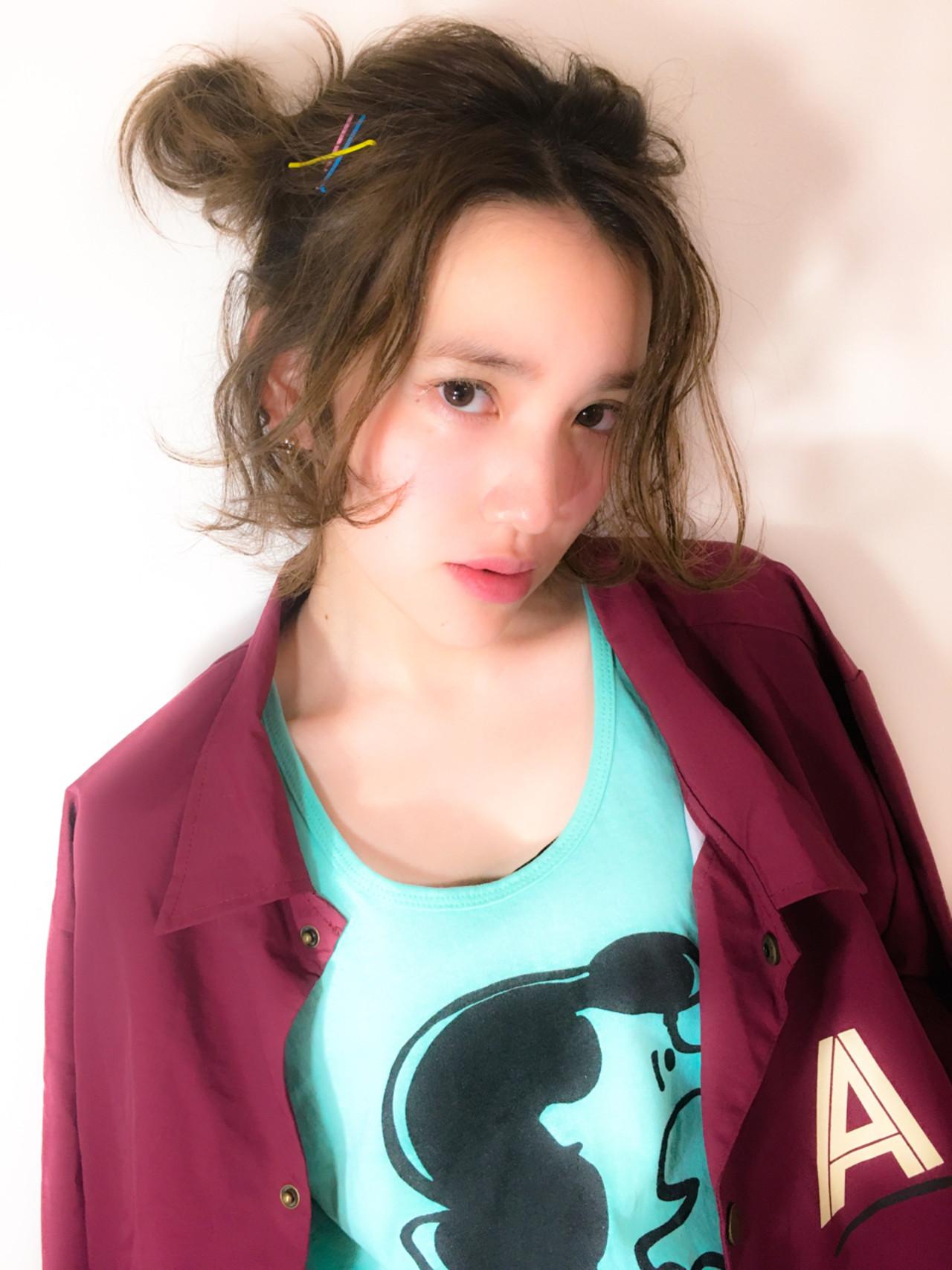 簡単ヘアアレンジ ガーリー ボブ ハーフアップ ヘアスタイルや髪型の写真・画像