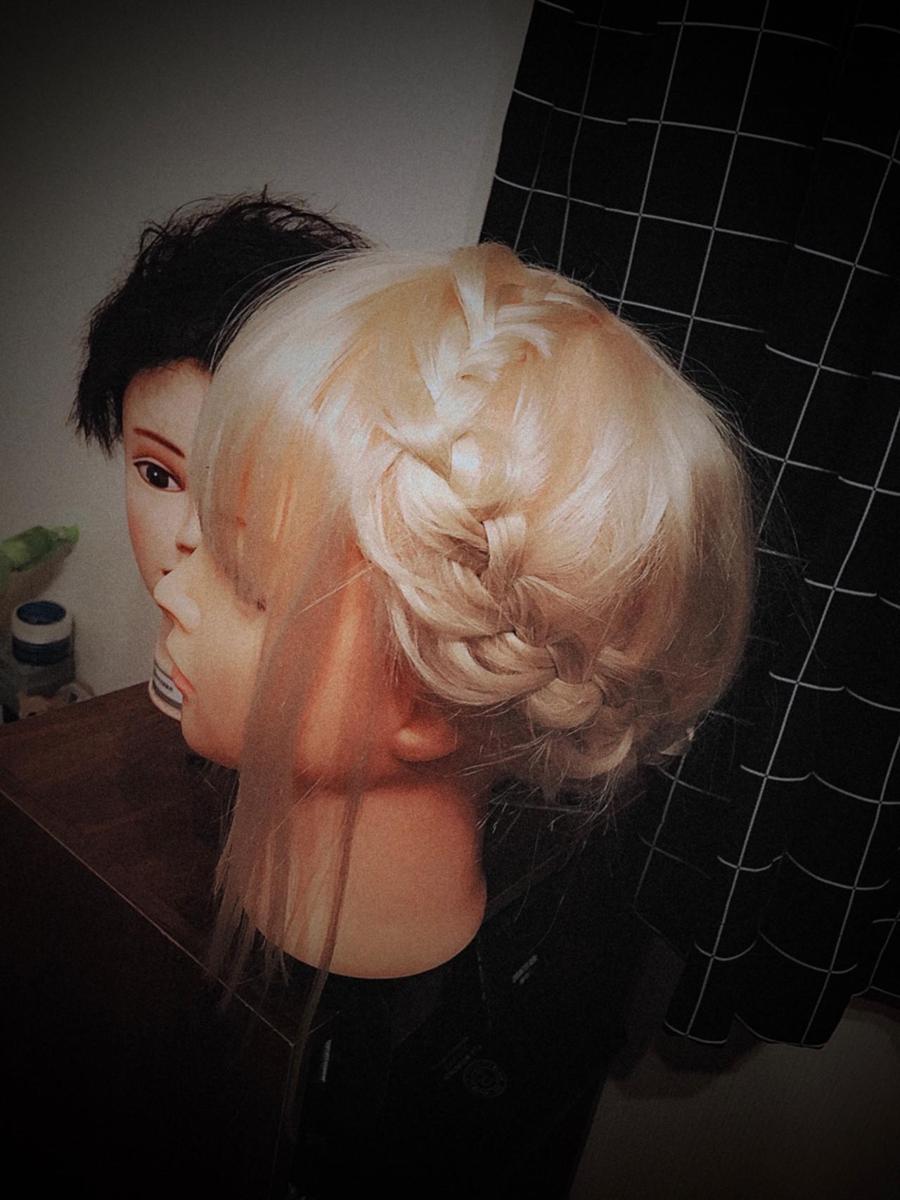 かわいい セミロング ヘアアレンジ 編み込み ヘアスタイルや髪型の写真・画像 | 宮崎モデル募集中!美容学生→正木 蓮 / 宮崎サザンビューティ