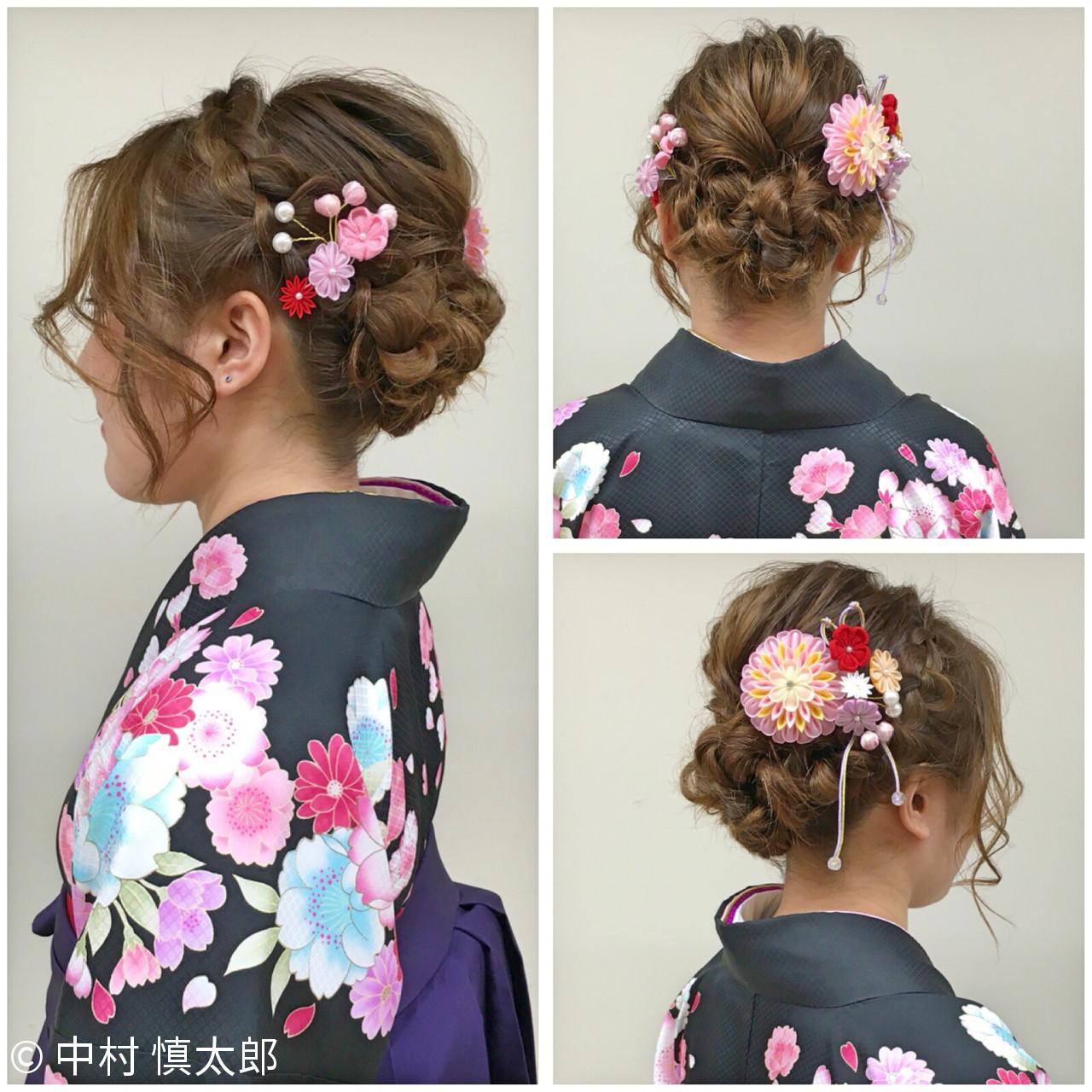 袴 ヘアアレンジ セミロング 謝恩会 ヘアスタイルや髪型の写真・画像