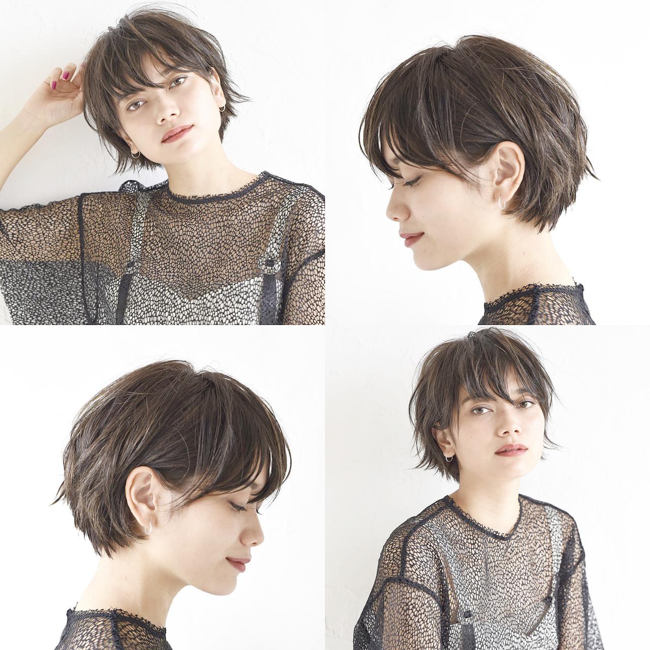 ショートボブ アンニュイほつれヘア デート ショート ヘアスタイルや髪型の写真・画像