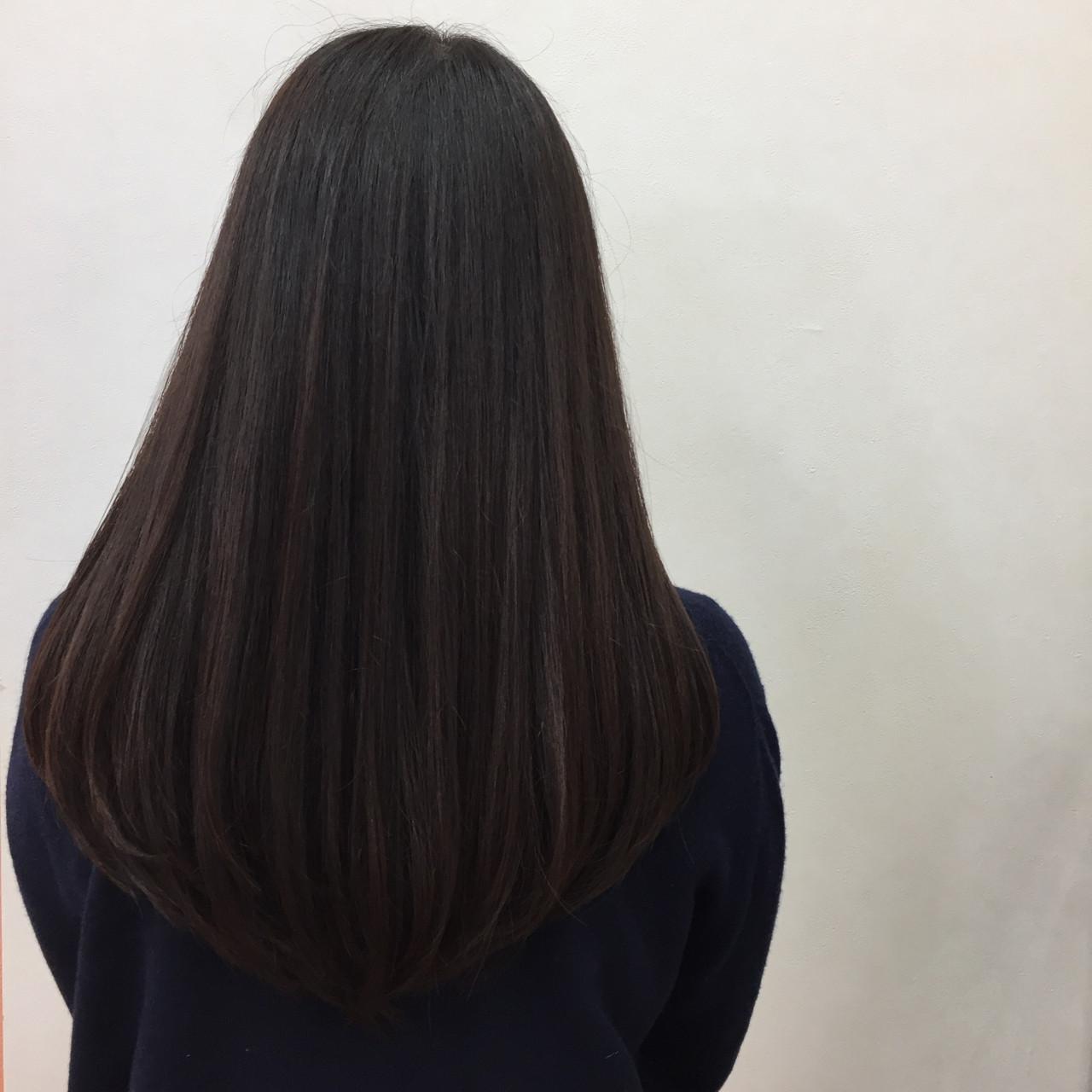 ブラウン 暗髪 ロング グラデーションカラー ヘアスタイルや髪型の写真・画像
