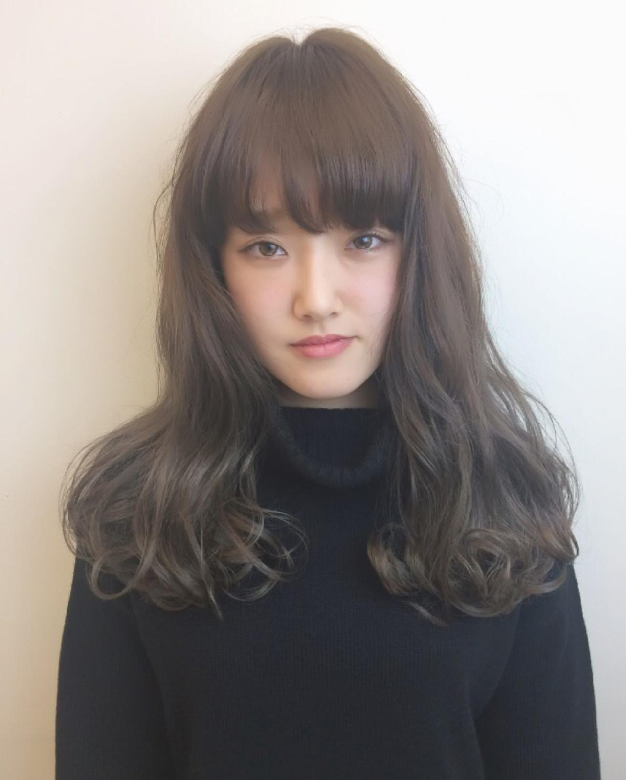 ストリート 冬 グレージュ セミロング ヘアスタイルや髪型の写真・画像 | 藤野美咲 / LES  GARCONS