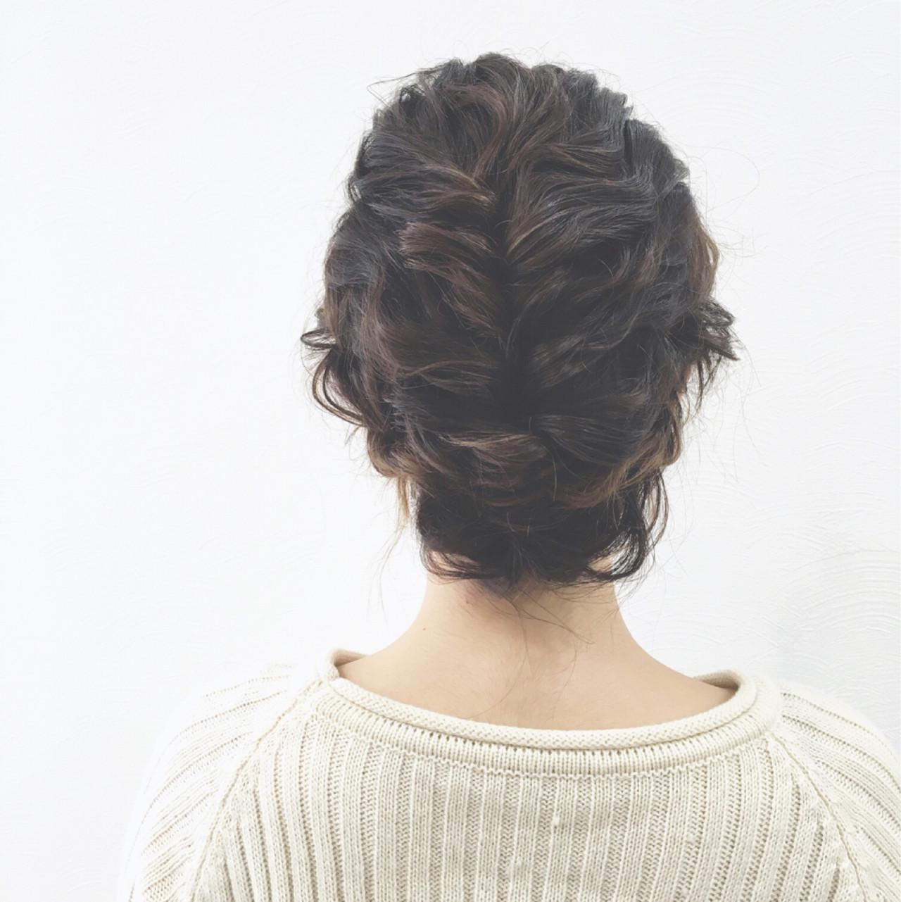 ショート ボブ ロープ編み ヘアアレンジ ヘアスタイルや髪型の写真・画像