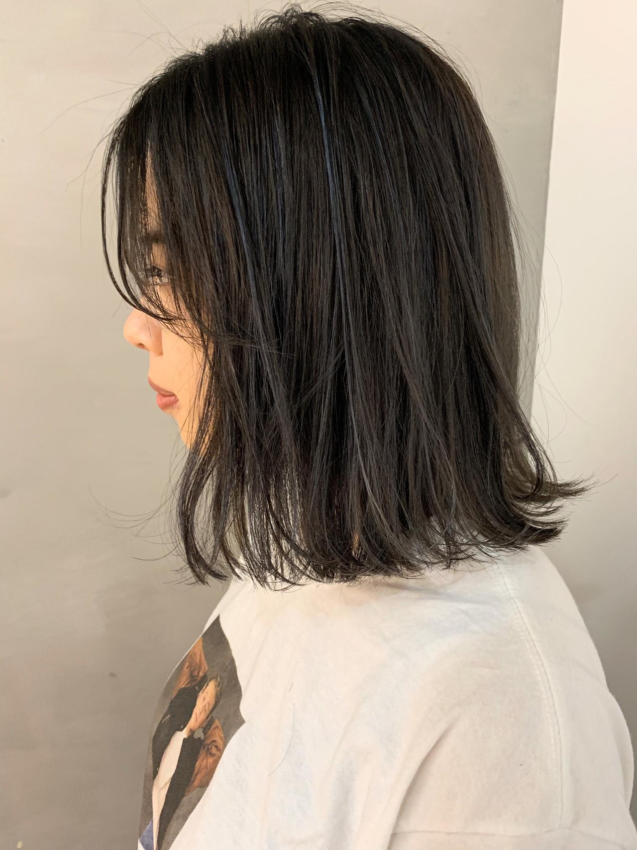 ハイライト ラベンダーアッシュ ブルージュ ボブ ヘアスタイルや髪型の写真・画像