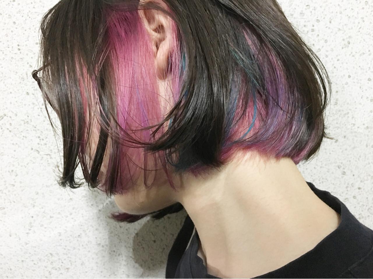 ストリート インナーカラー ピンク ボブ ヘアスタイルや髪型の写真・画像