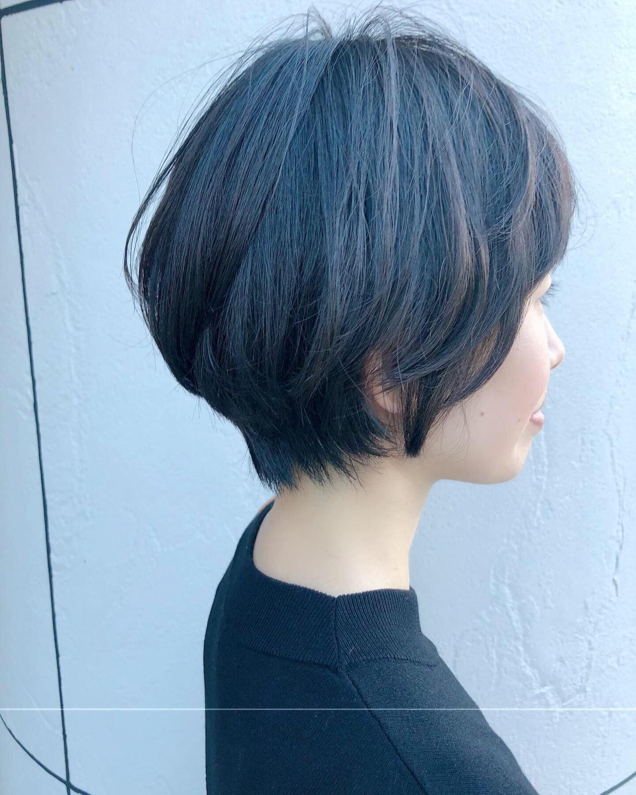 小顔ヘア パーマ ショートボブ ナチュラル ヘアスタイルや髪型の写真・画像