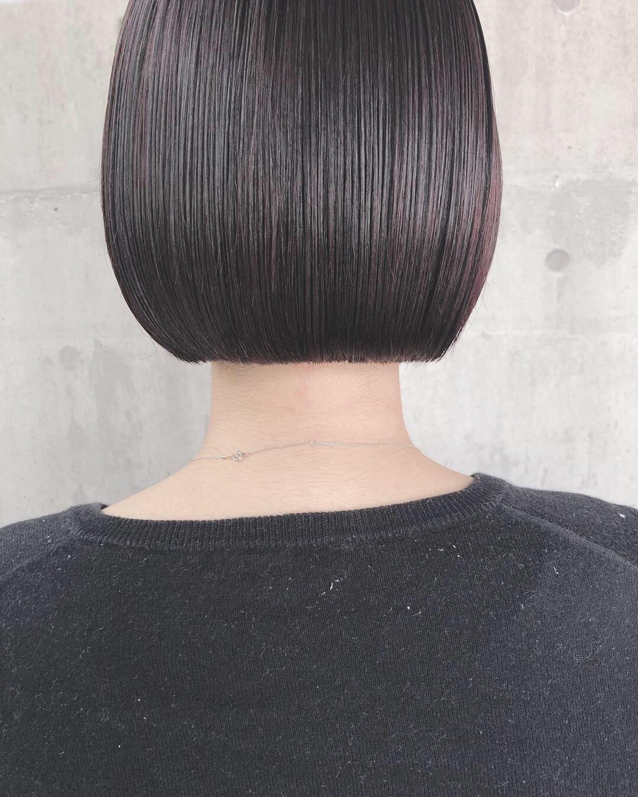ナチュラル ミニボブ 切りっぱなしボブ 大人かわいい ヘアスタイルや髪型の写真・画像 | 上田智久 / ooit 福岡 天神 / ooit