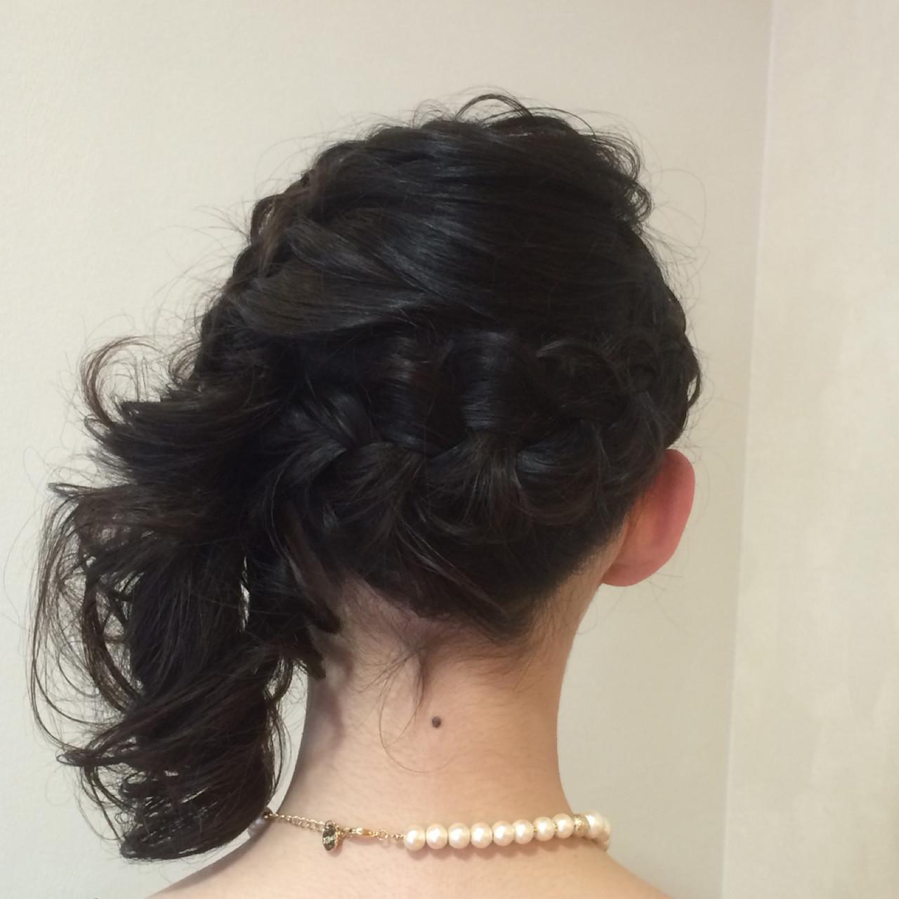 結婚式 編み込み ヘアアレンジ まとめ髪 ヘアスタイルや髪型の写真・画像 | 木脇麻未 / トータルビューティーデザインオフコース