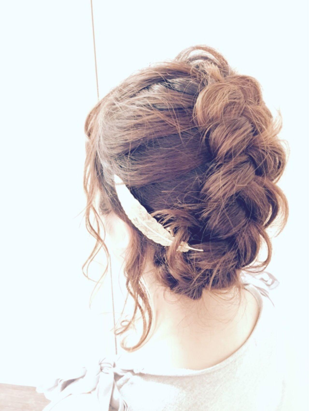 編み込み モテ髪 コンサバ フェミニン ヘアスタイルや髪型の写真・画像